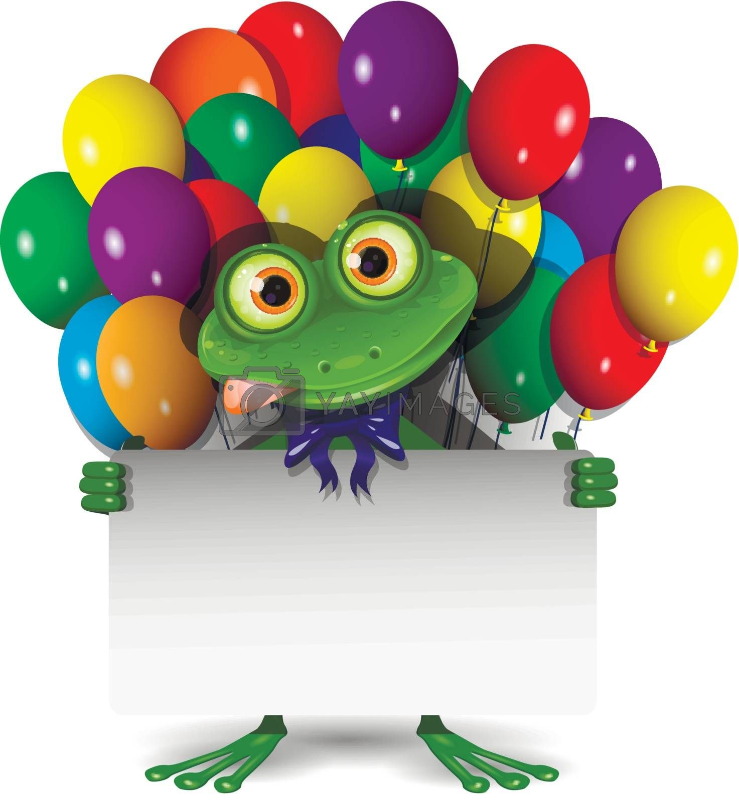 Illustration Frog With a White Background and Balloons