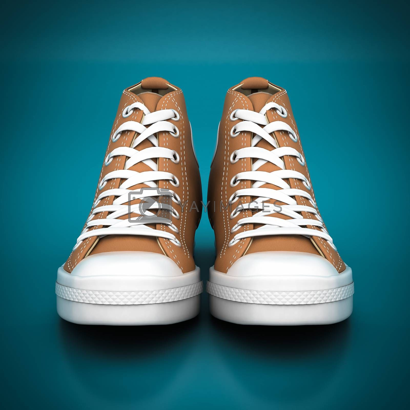 Fashion leather shoes on a blue background