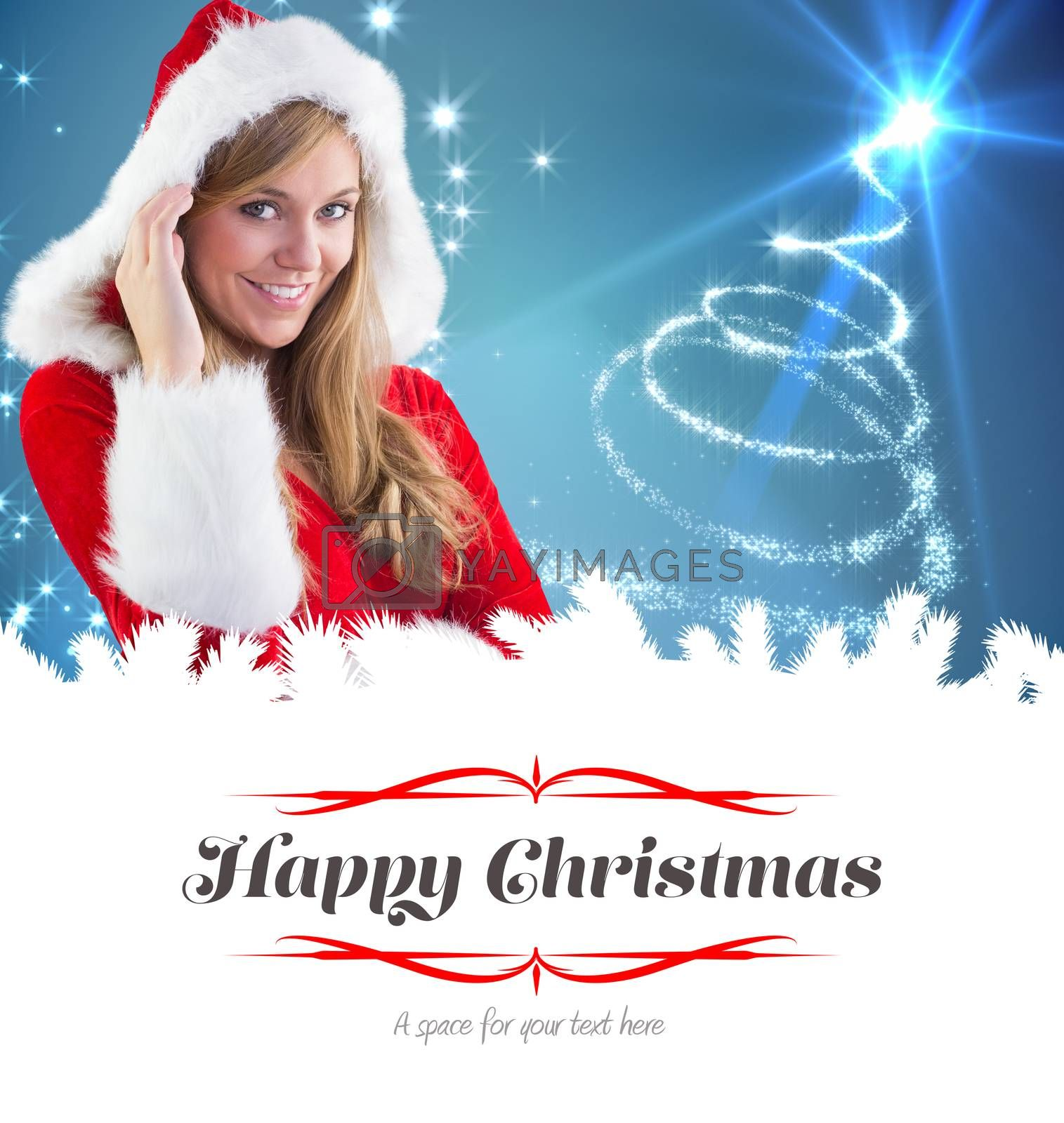 festive blonde smiling at camera against border