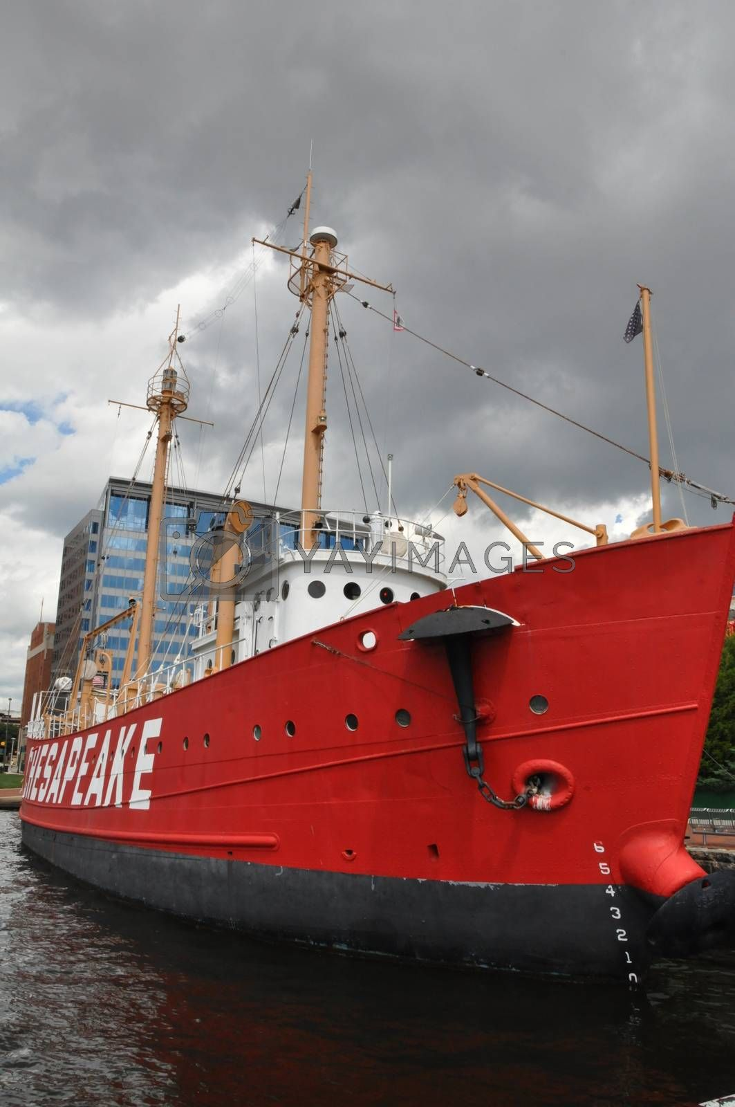 United States lightship Chesapeake (LV-116) docked at the Inner Harbor in Baltimore, Maryland