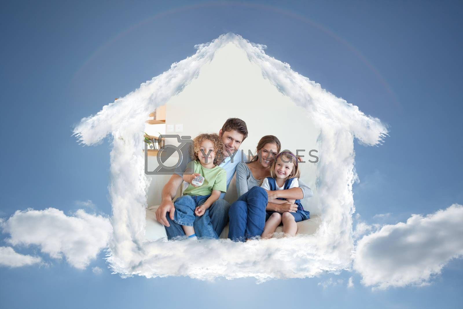 Smiling family watching TV together against cloudy sky with sunshine