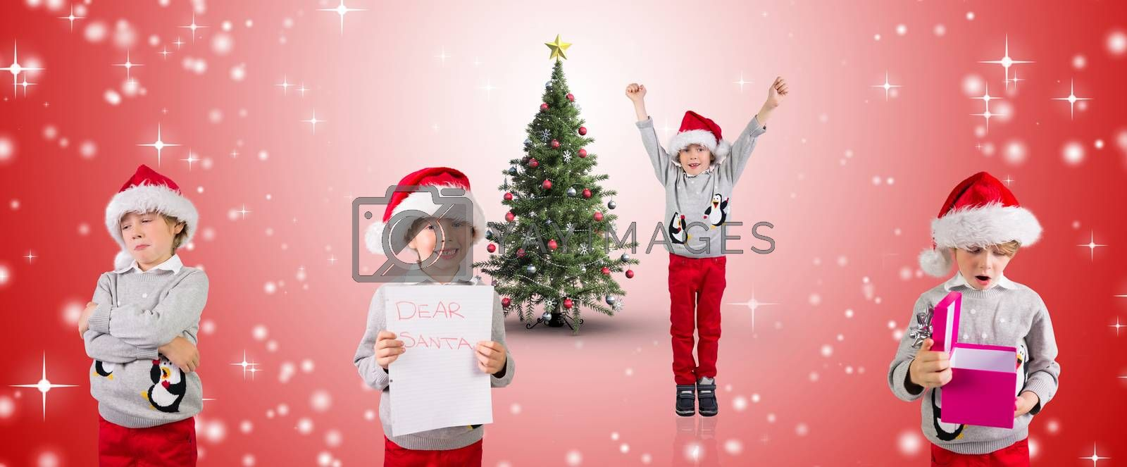Composite image of different festive boys against white light dots on red