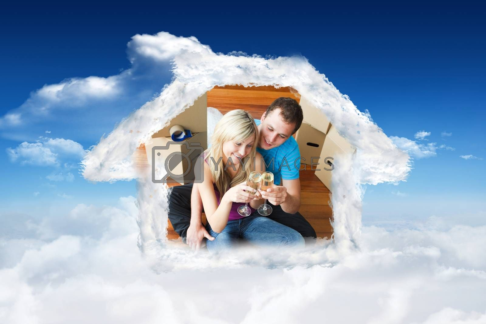 Cute lovers celebrating new house with champagne against bright blue sky with clouds