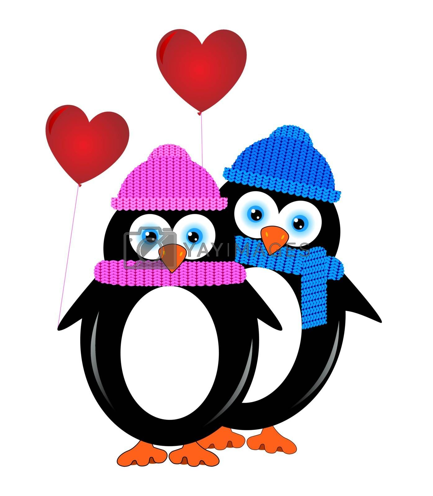 Two lovers penguin with balloons in the form of hearts.
