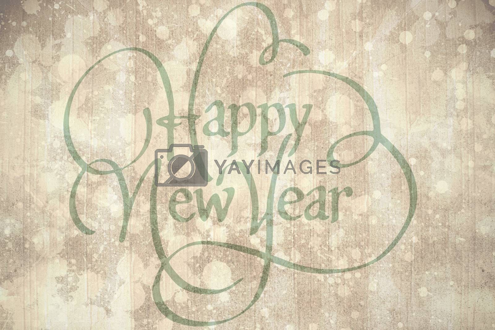 happy new year against paint splattered paper