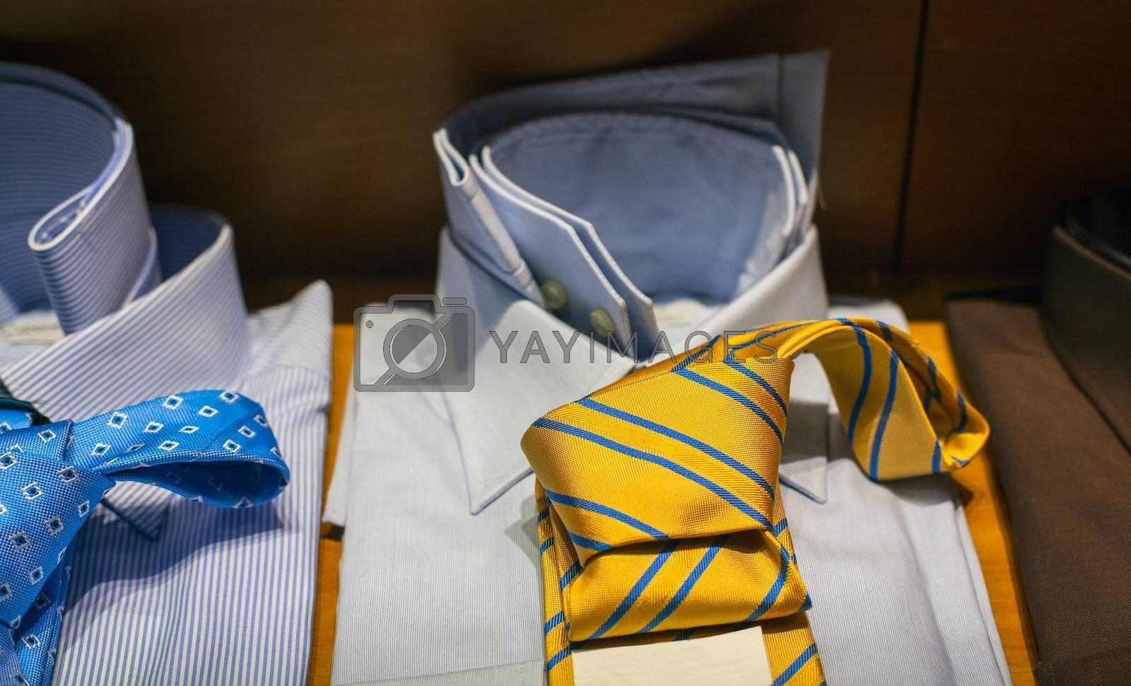 Close up of male shirts exposed in the clothes shop