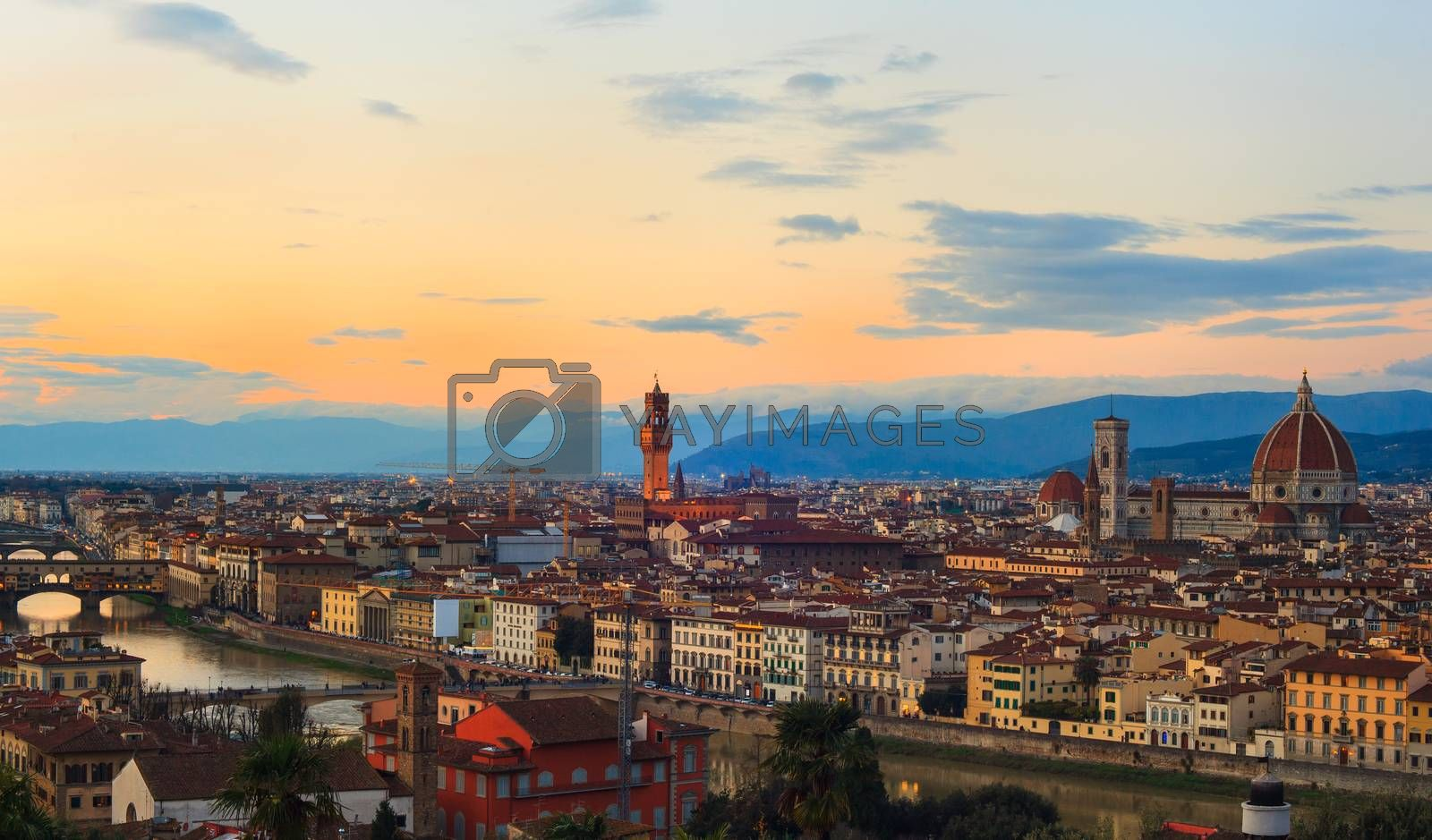 View of Florence, famous city in Tuscany, Italy