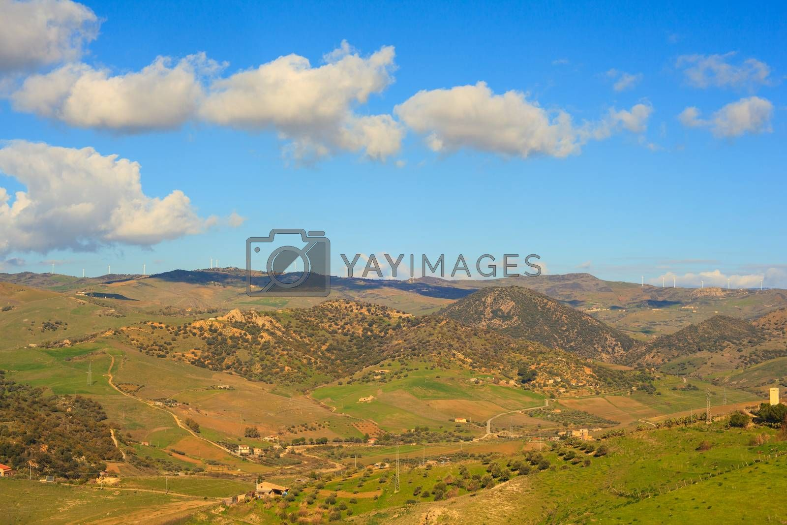 Viev of Mountain near the town of Leonforte, Sicily