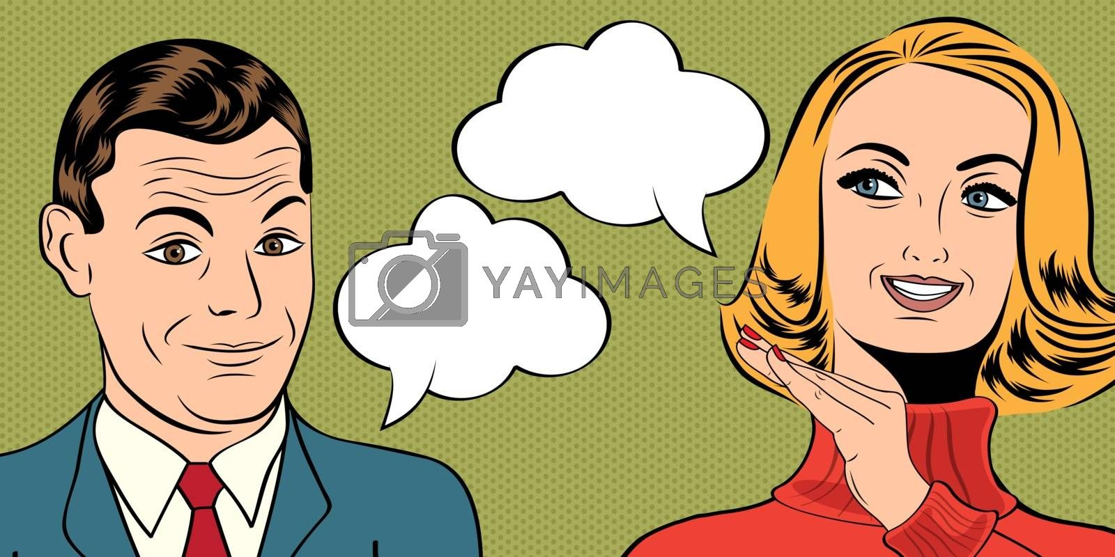 pop art cute retro couple in comics style with message, vector illustration
