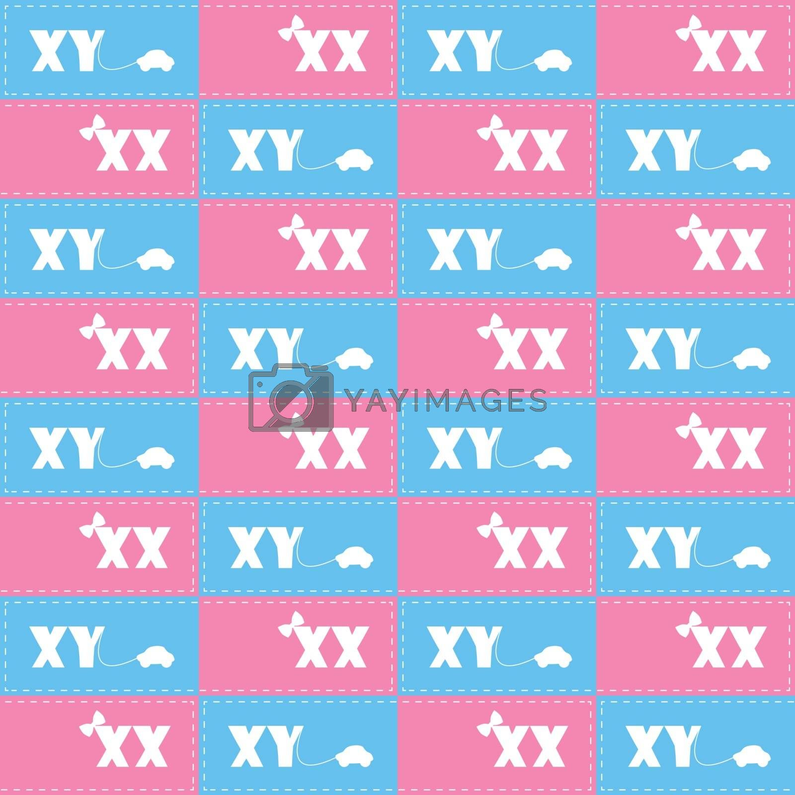 seamless pattern with symbol girl or boy