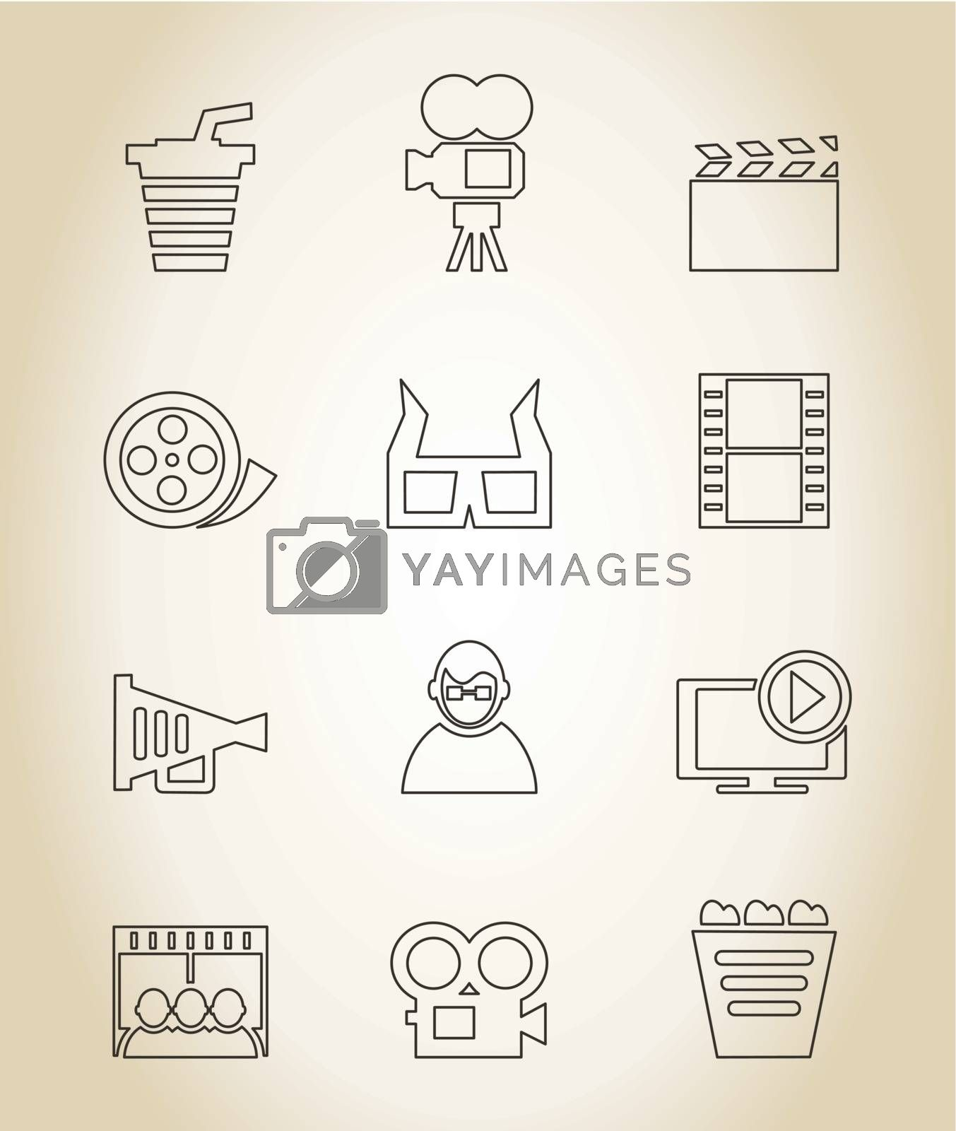 Set of icons in linear style on a cinema theme. A vector illustration