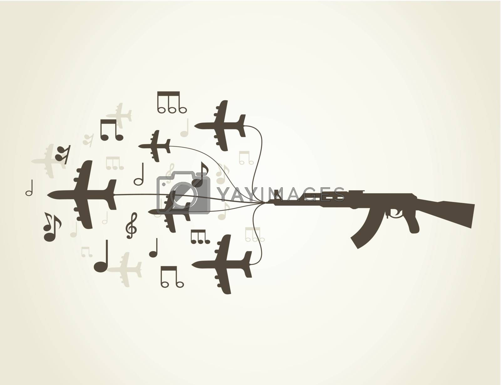 Planes and notes from the weapon. A vector illustration