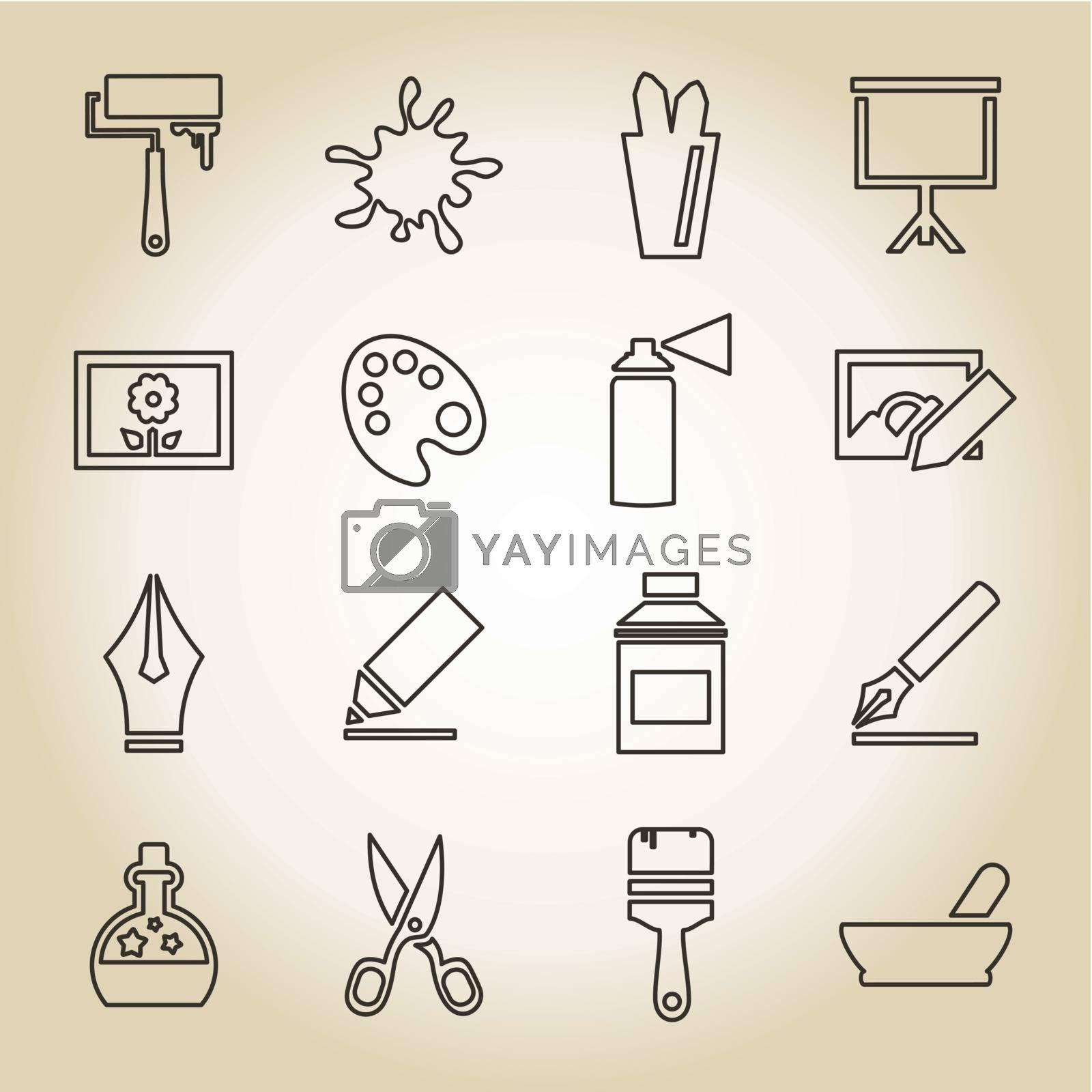 Set of icons in linear style on an art theme. A vector illustration