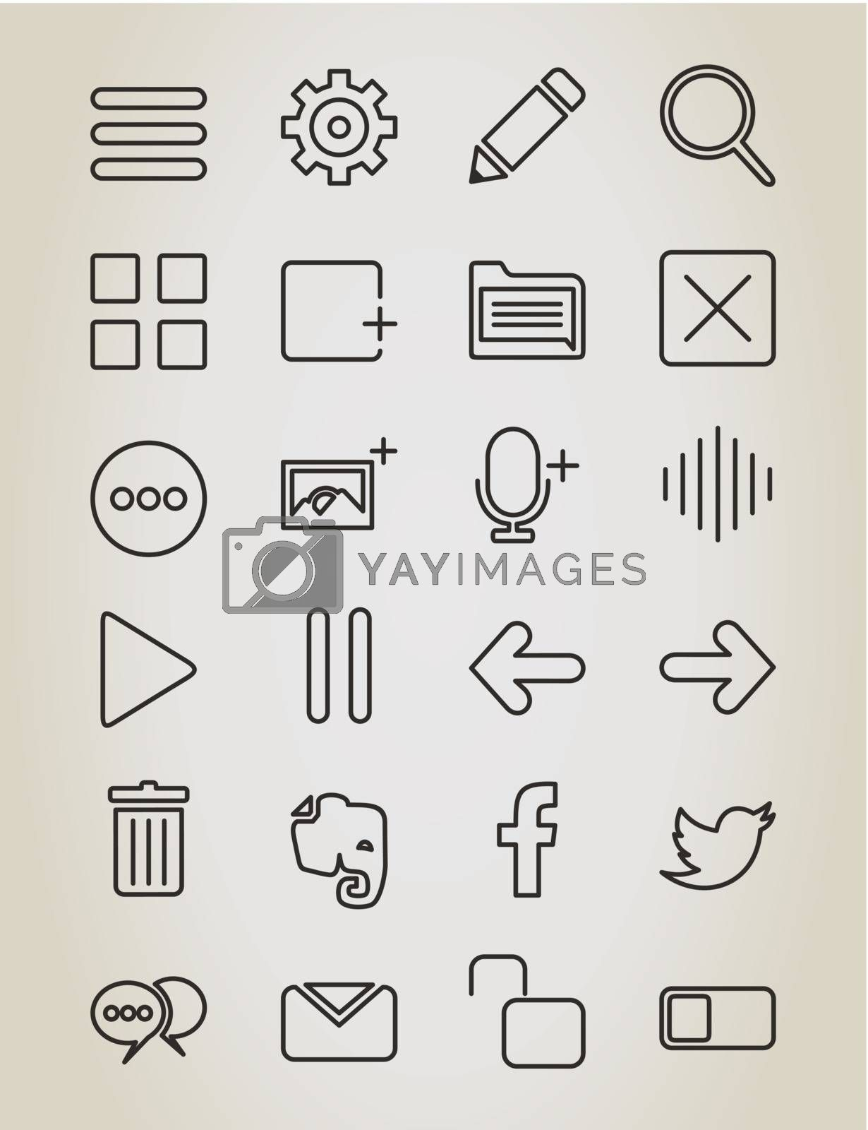 Set of icons in linear style. A vector illustration