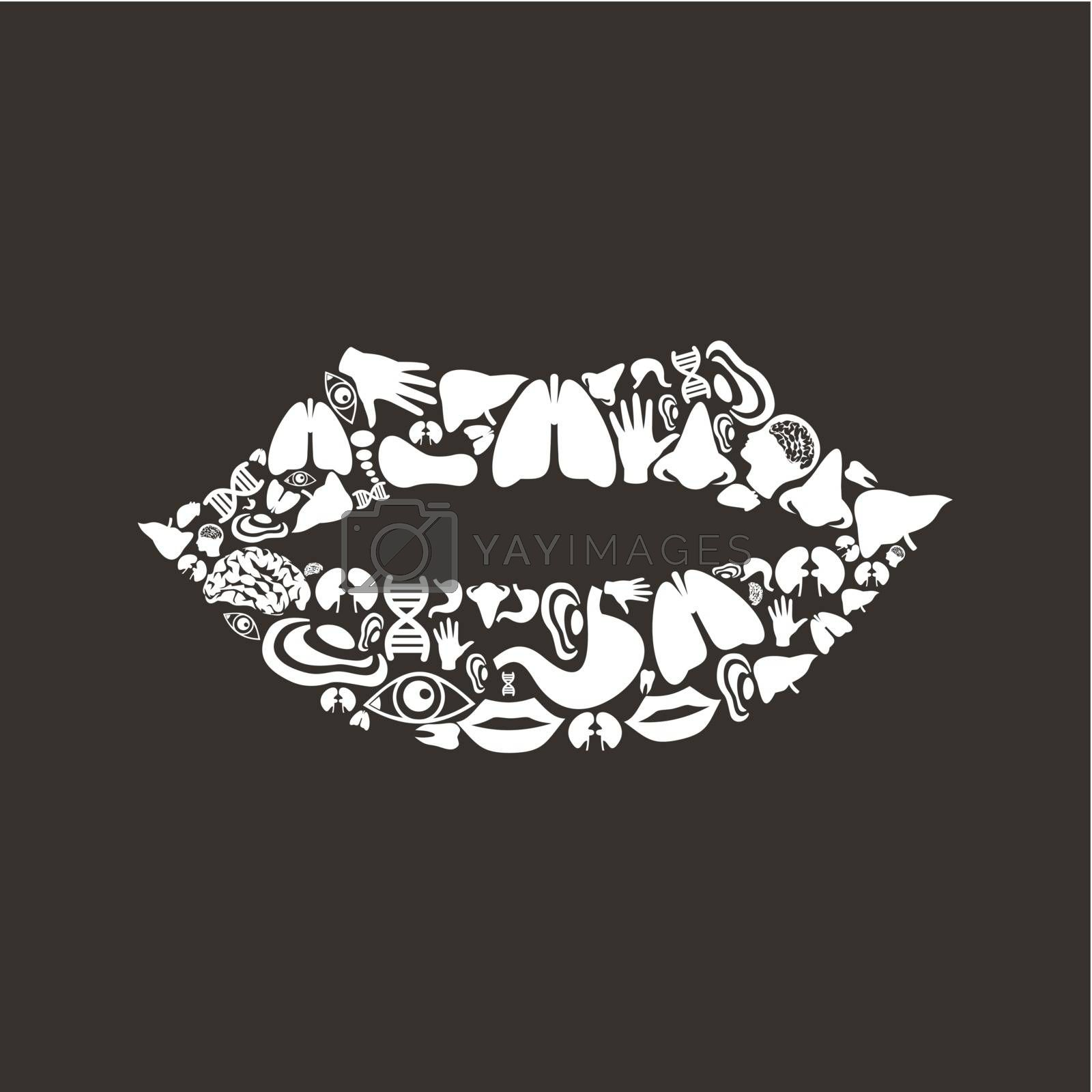 Mouth made of body parts. A vector illustration