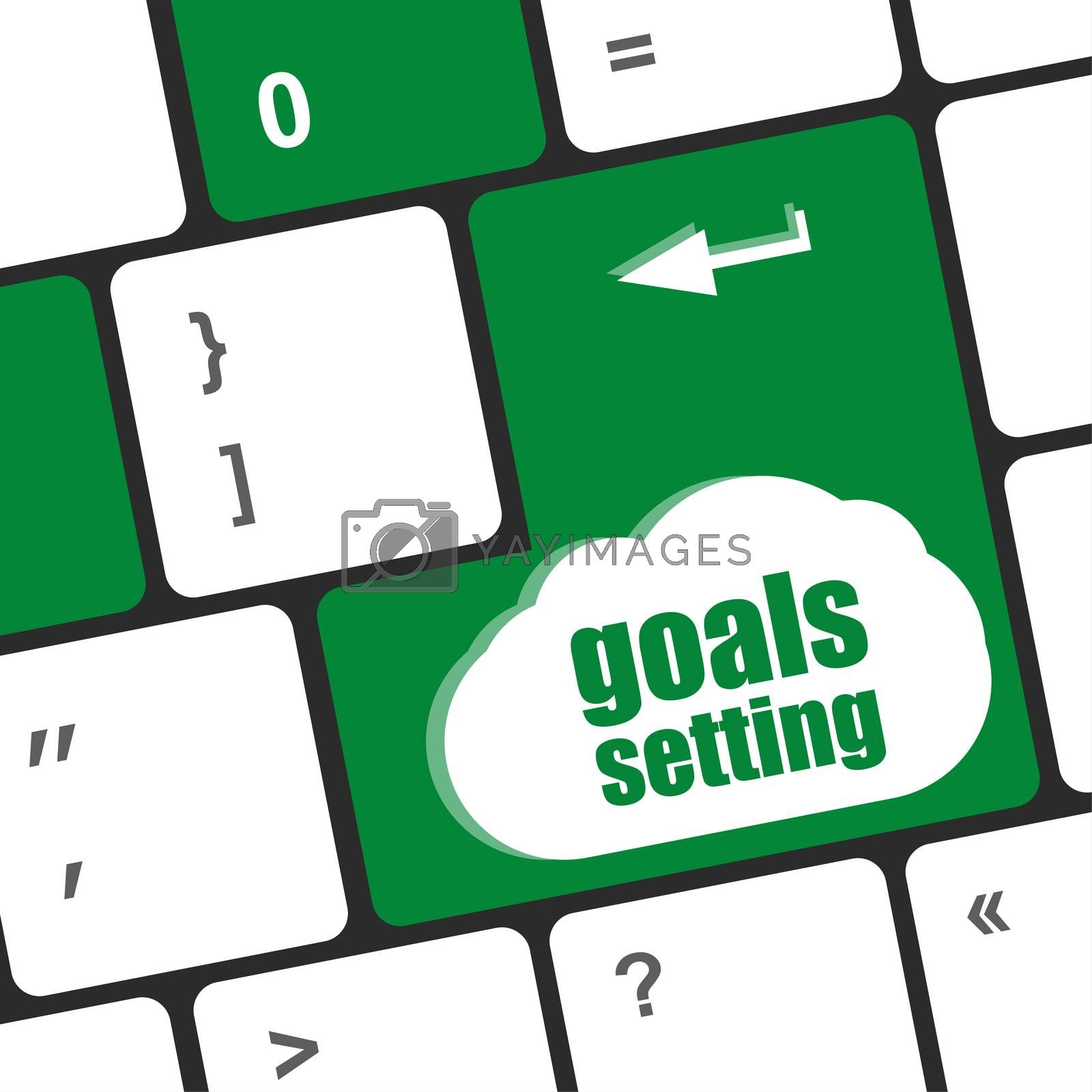 Goals setting button on keyboard with soft focus