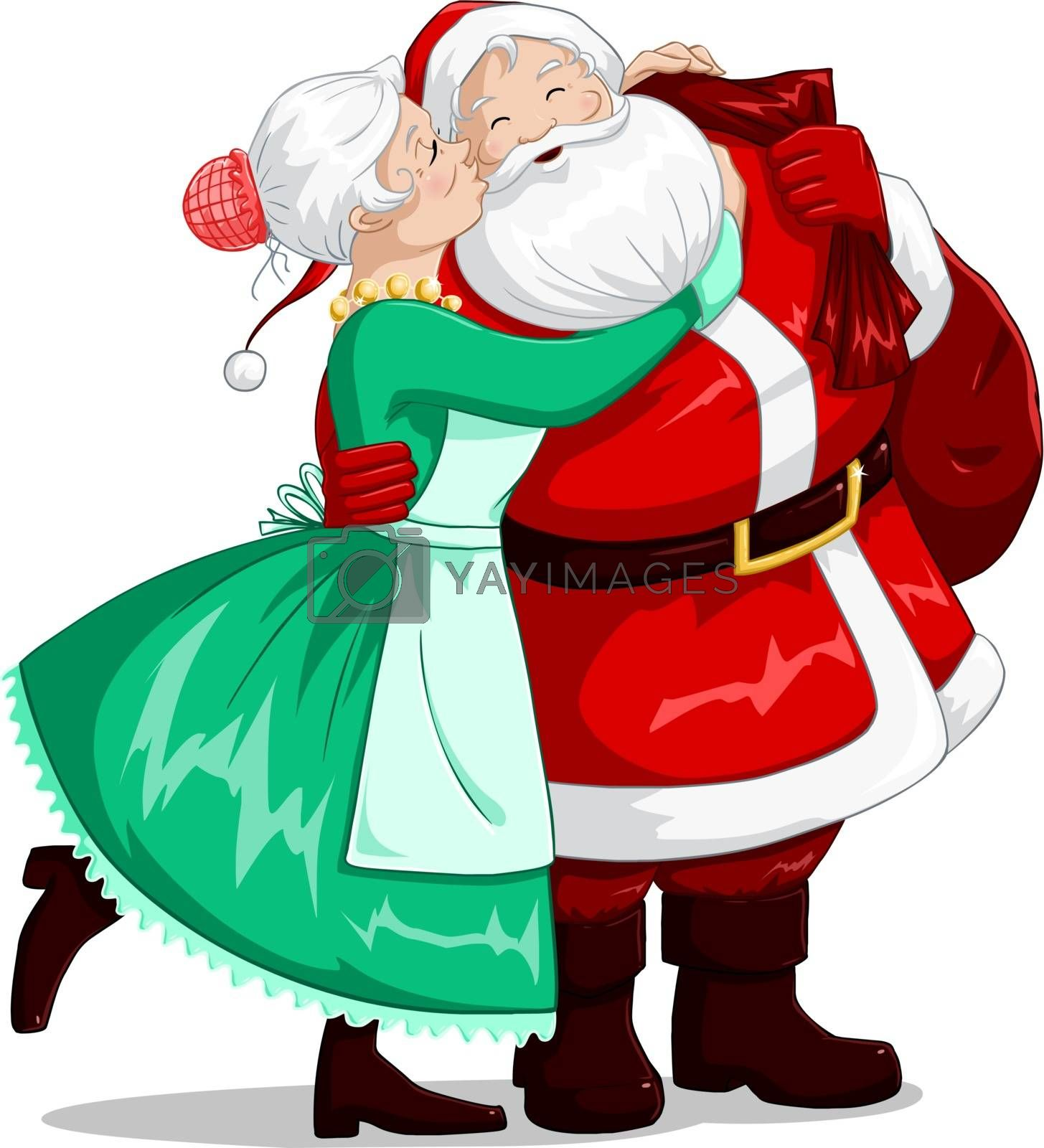 A vector illustration of mrs Claus kisses Santa on cheek and hugs him for christmas.