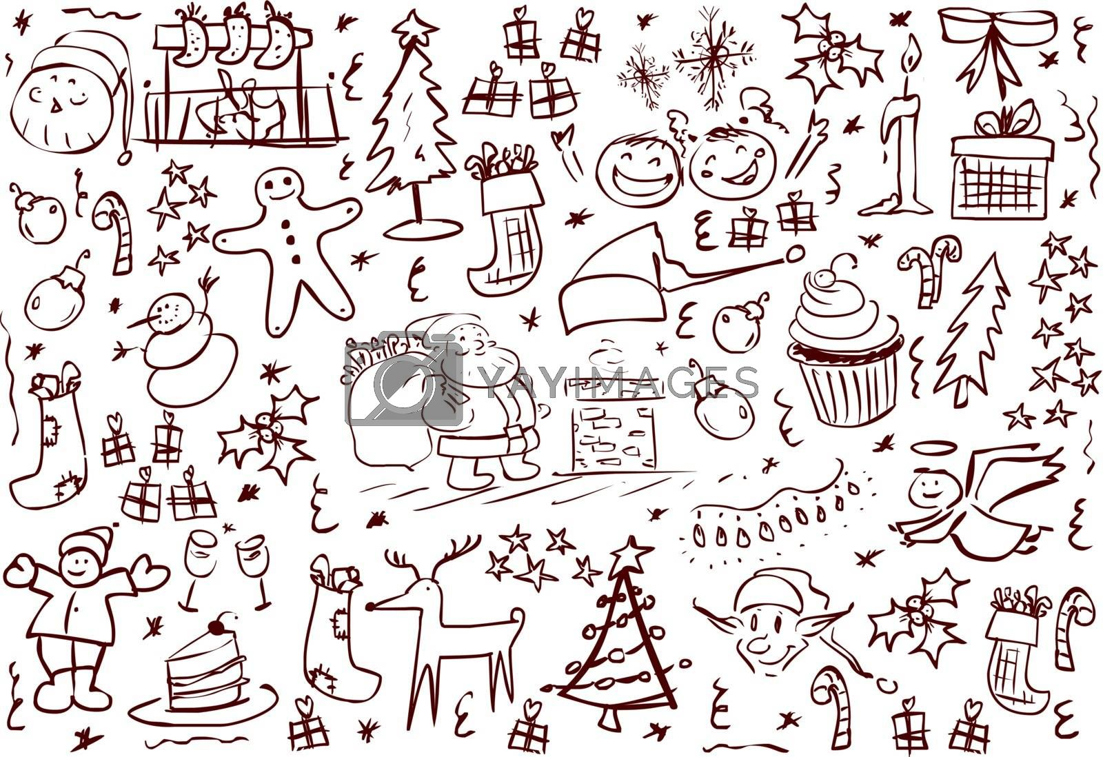A pack of vector illustrations of Christmas related doodles.