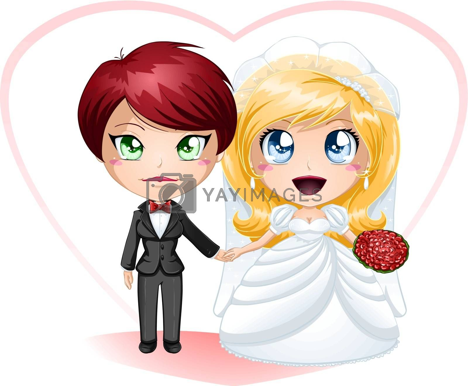 A vector illustration of lesbians dressed in dress and suit for their wedding day.