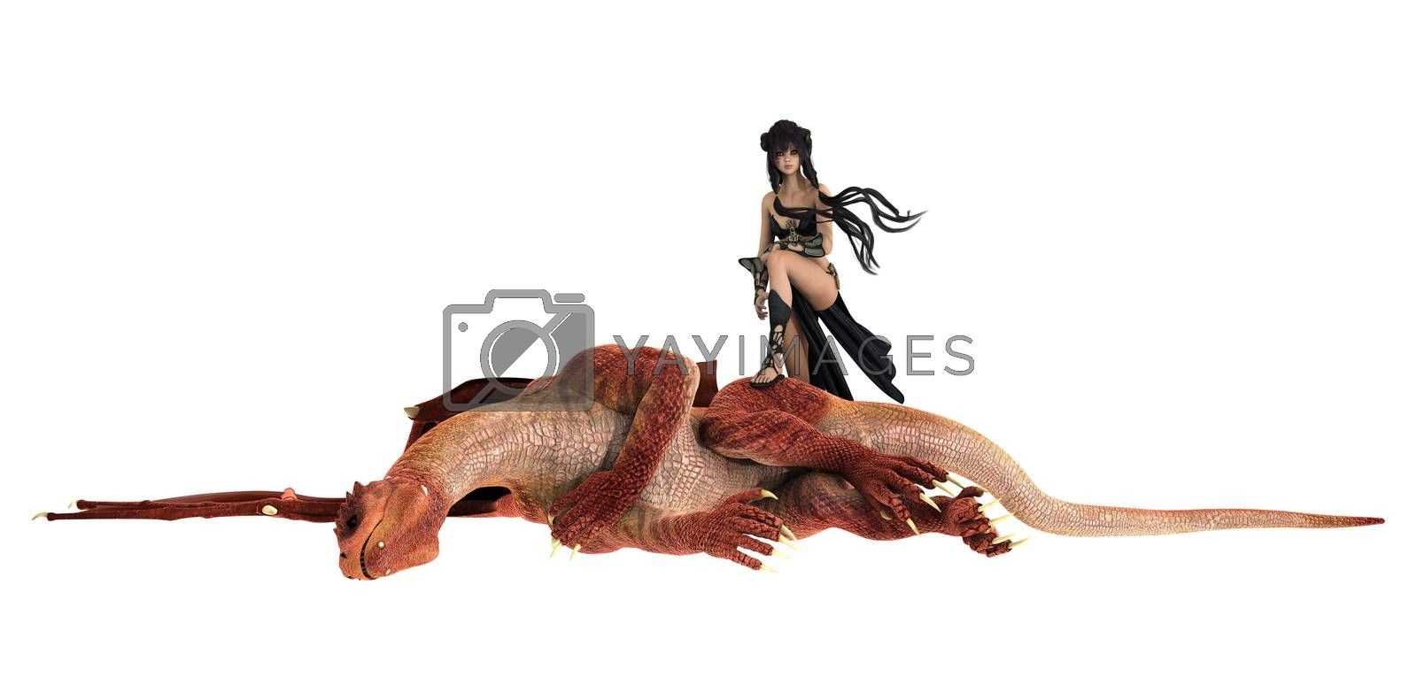 3D digital render of a beautiful warrior lady standing on a body of a dead dragon isolated on white background