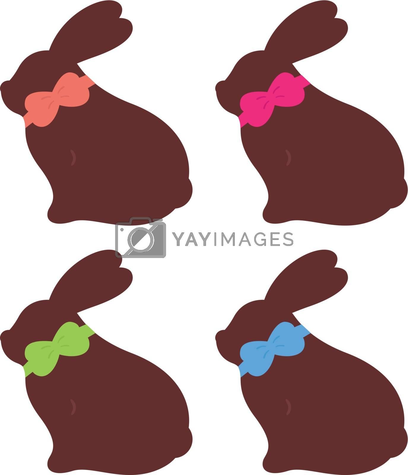 Beautiful cute rabbit set. Vector cartoon Illustration