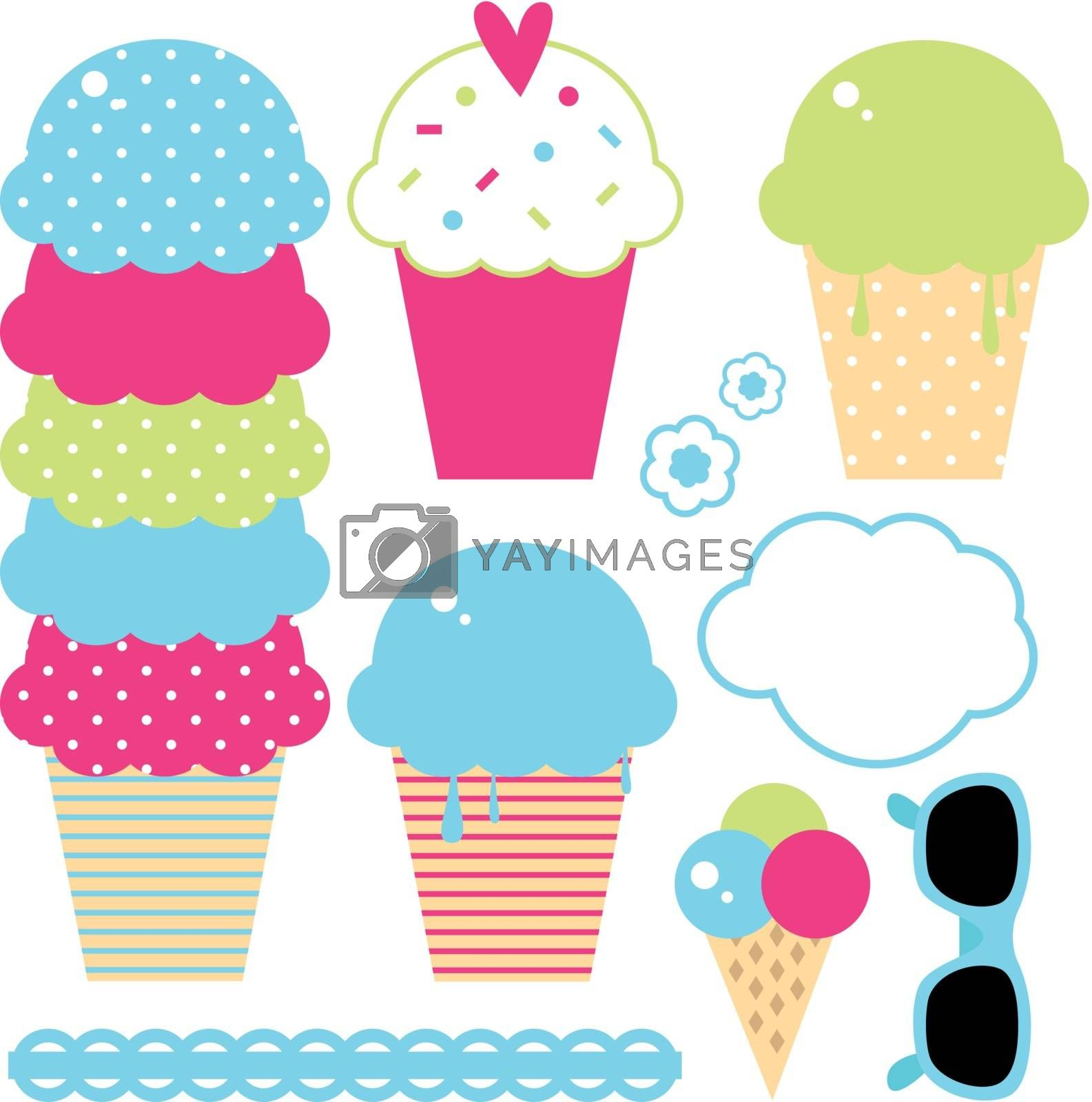 Design collection of summer colorful ice creams by Lordalea