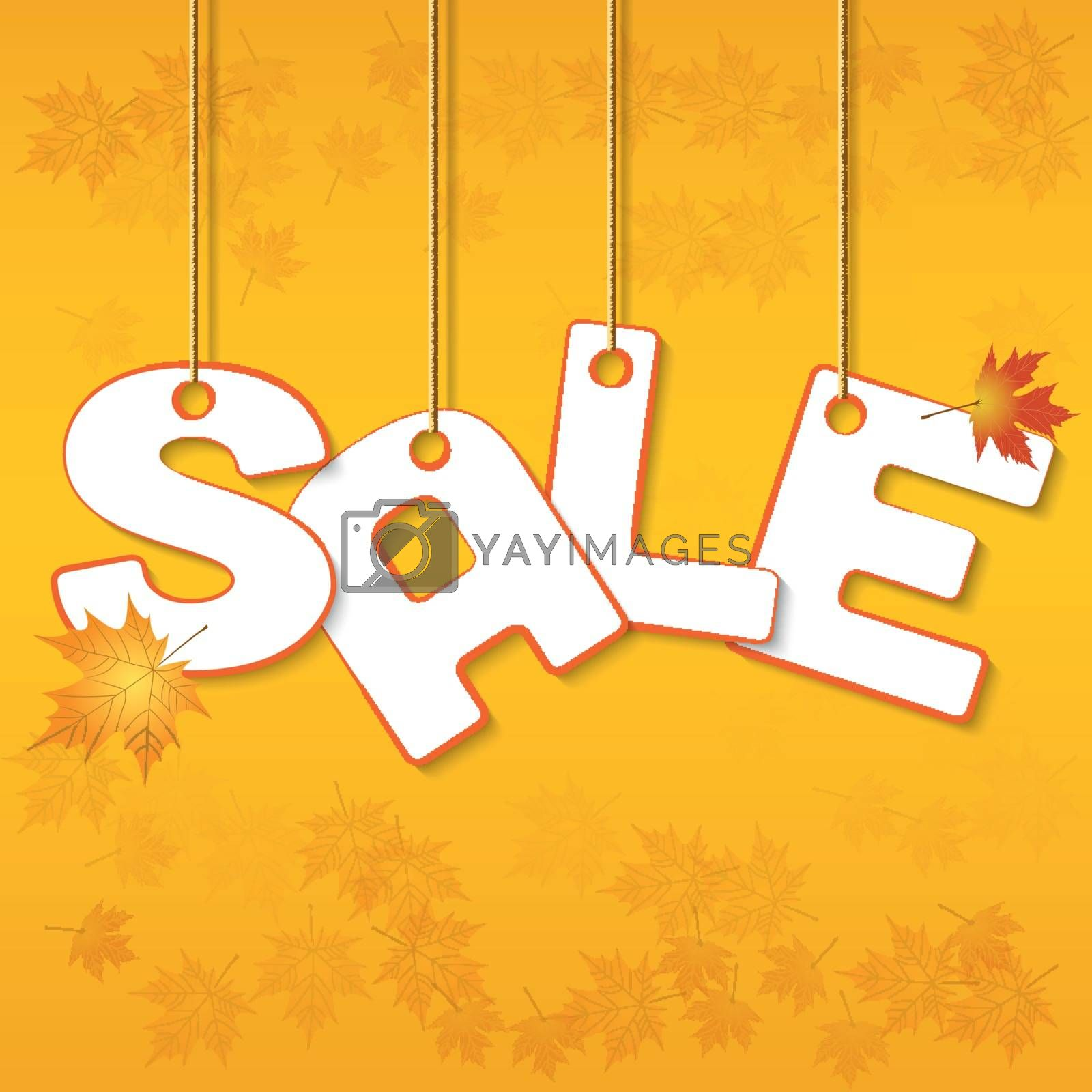 Autumn Sale letters hanging on ropes with leaves