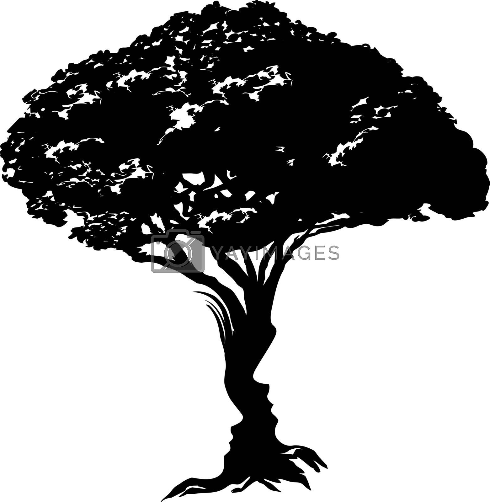 An illustration of an abstract tree optical illusion formed from a man and womans face concept design
