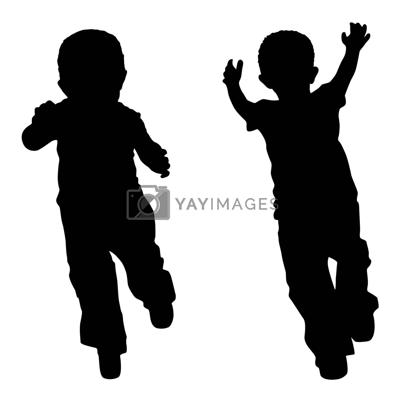 Silhouettes of two little boys who play
