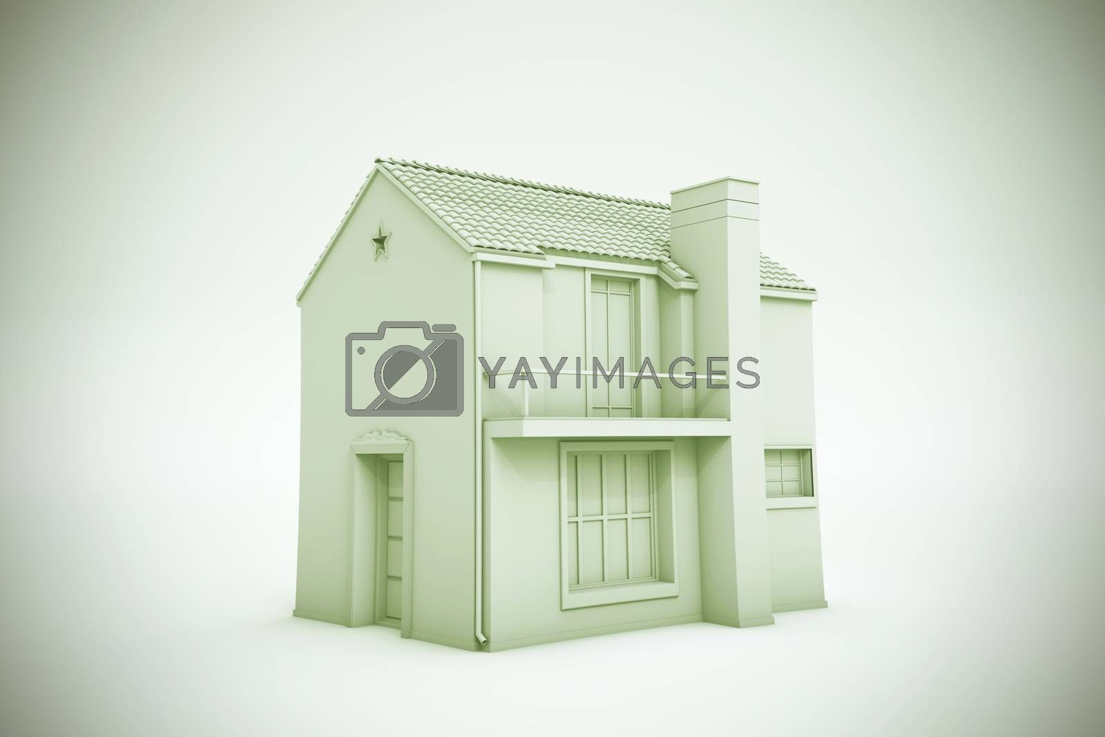 simple house model isolated on white background