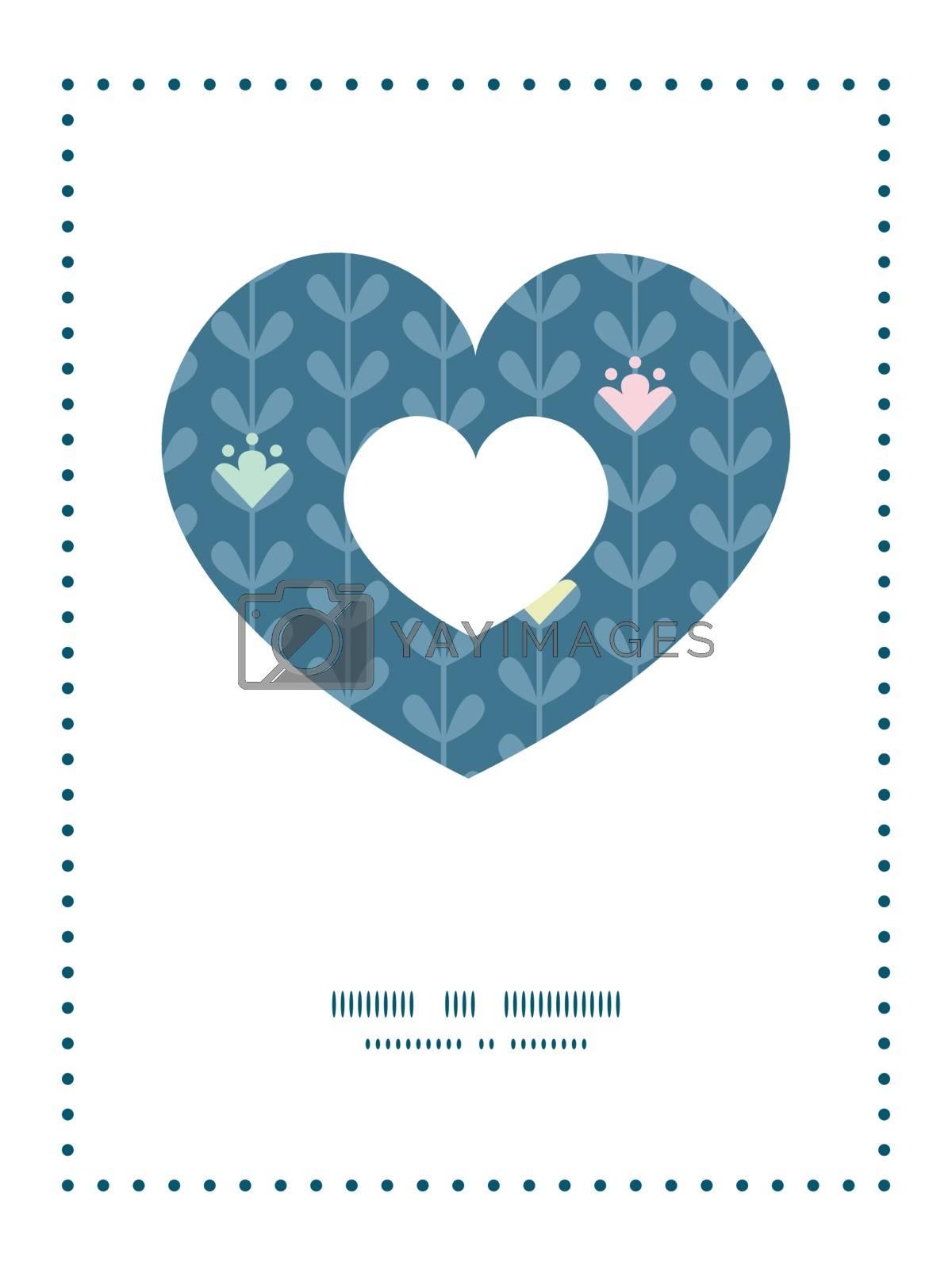 Vector blloming vines stripes heart symbol frame pattern invitation greeting card template graphic design