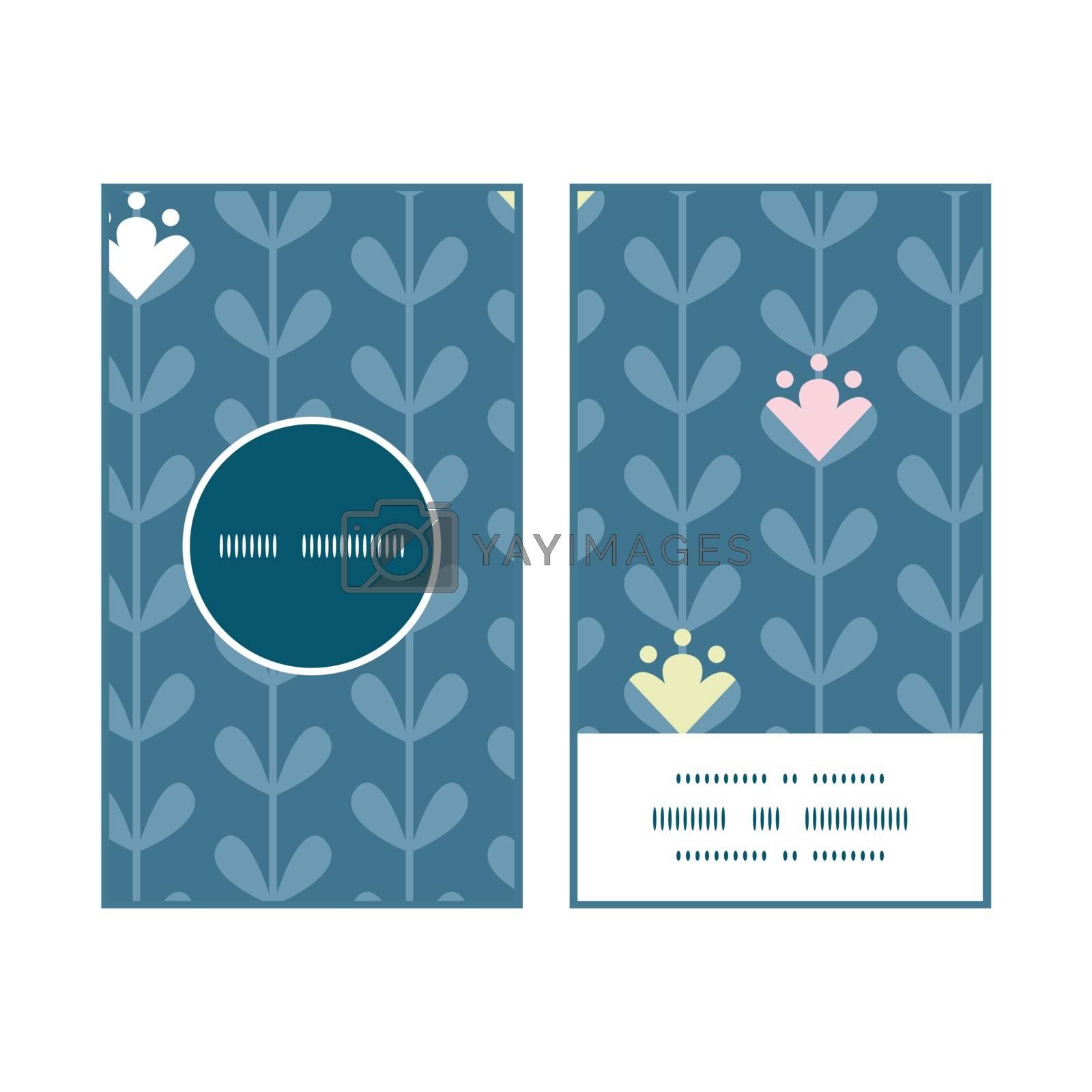 Vector blloming vines stripes vertical round frame pattern business cards set graphic design