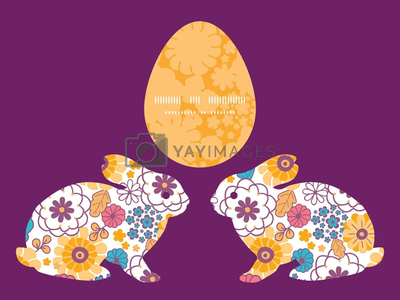 Vector colorful oriental flowers bunny rabbit silhouette Easter frame graphic design