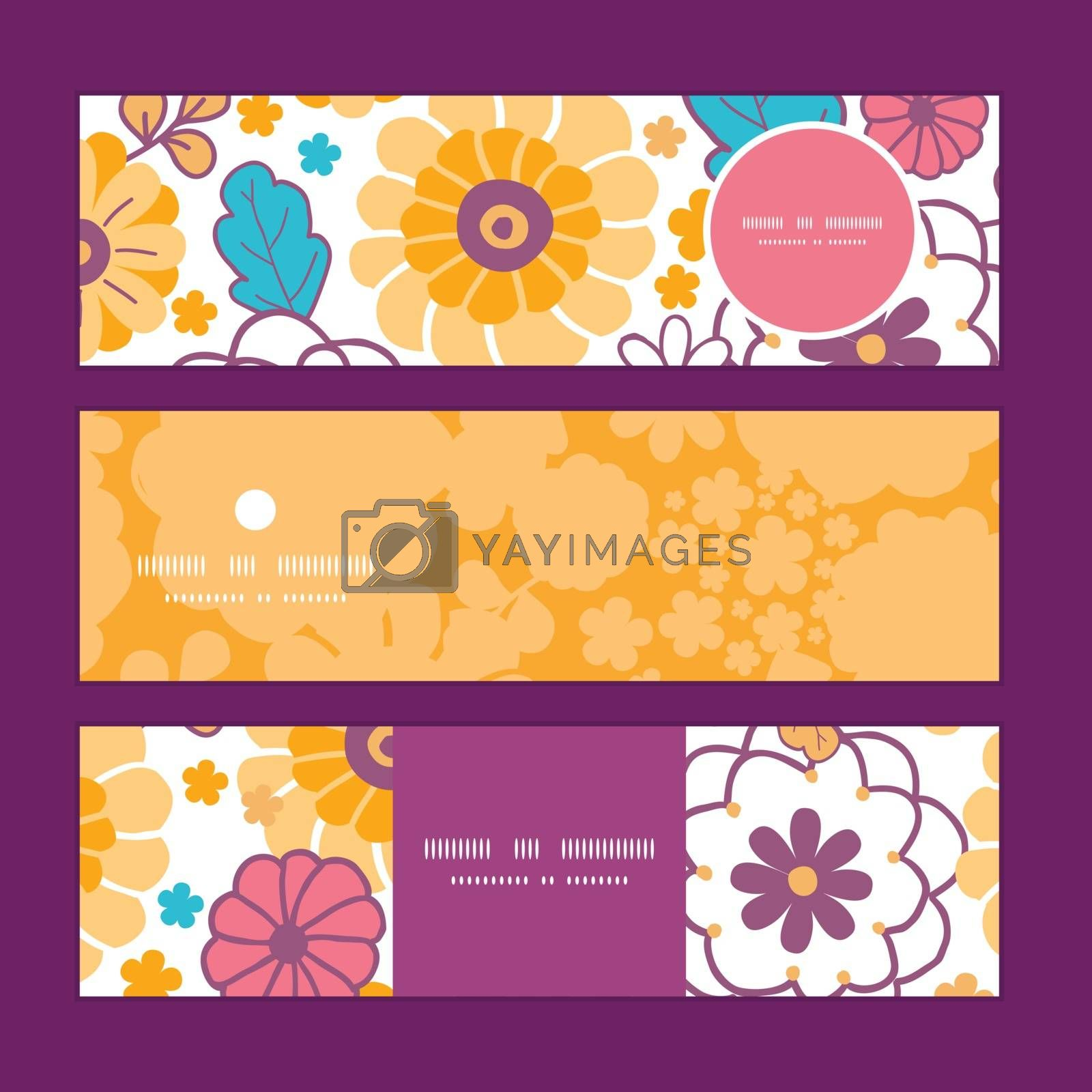 Vector colorful oriental flowers horizontal banners set pattern background graphic design