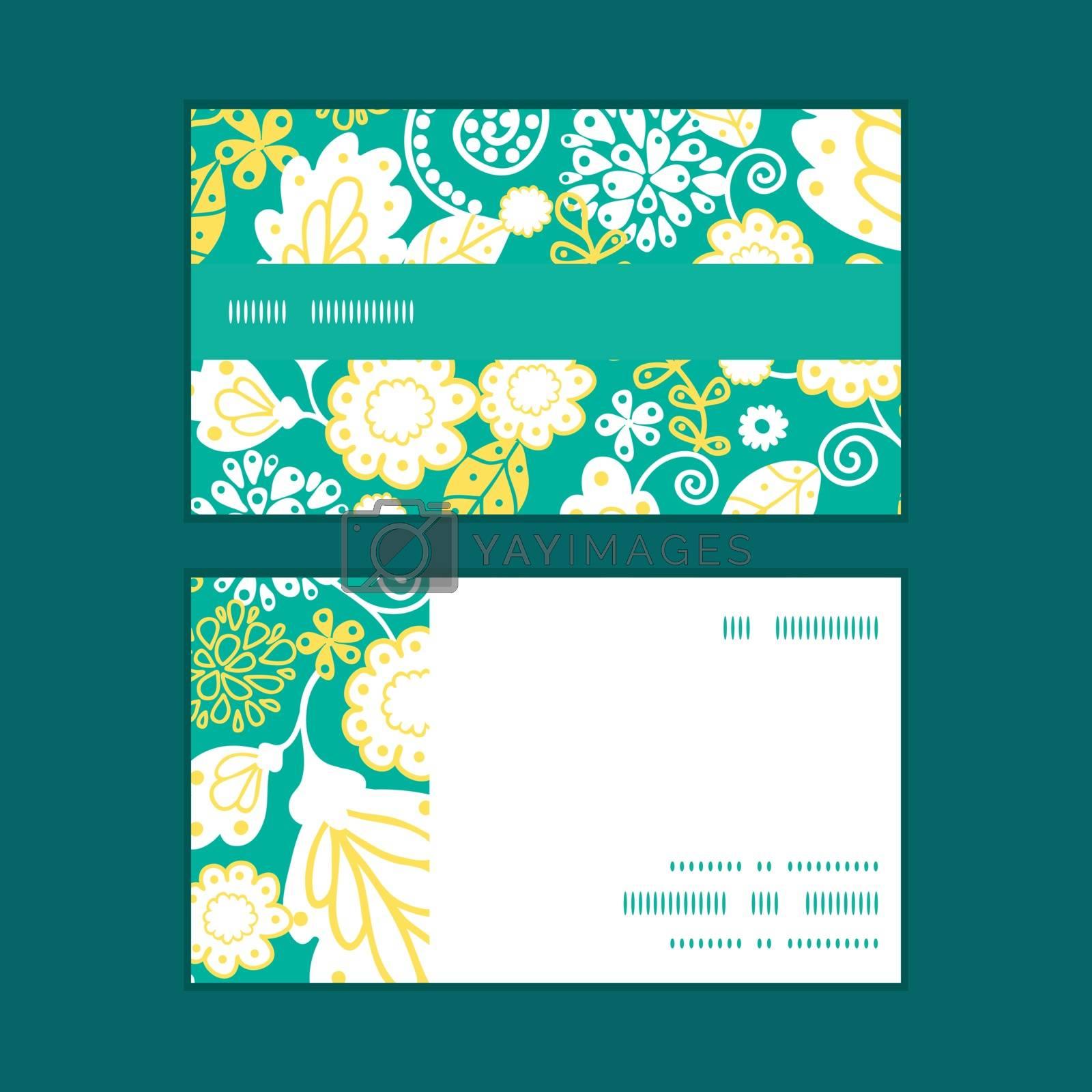 Vector emerald flowerals horizontal stripe frame pattern business cards set graphic design