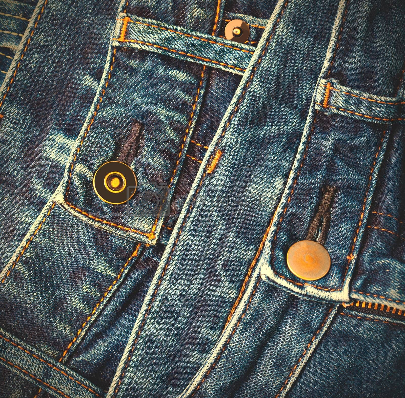 fashion blue jeans in stack, instagram image style