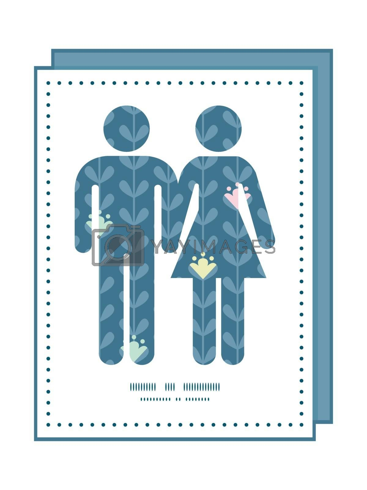 Vector blloming vines stripes couple in love silhouettes frame pattern invitation greeting card template graphic design