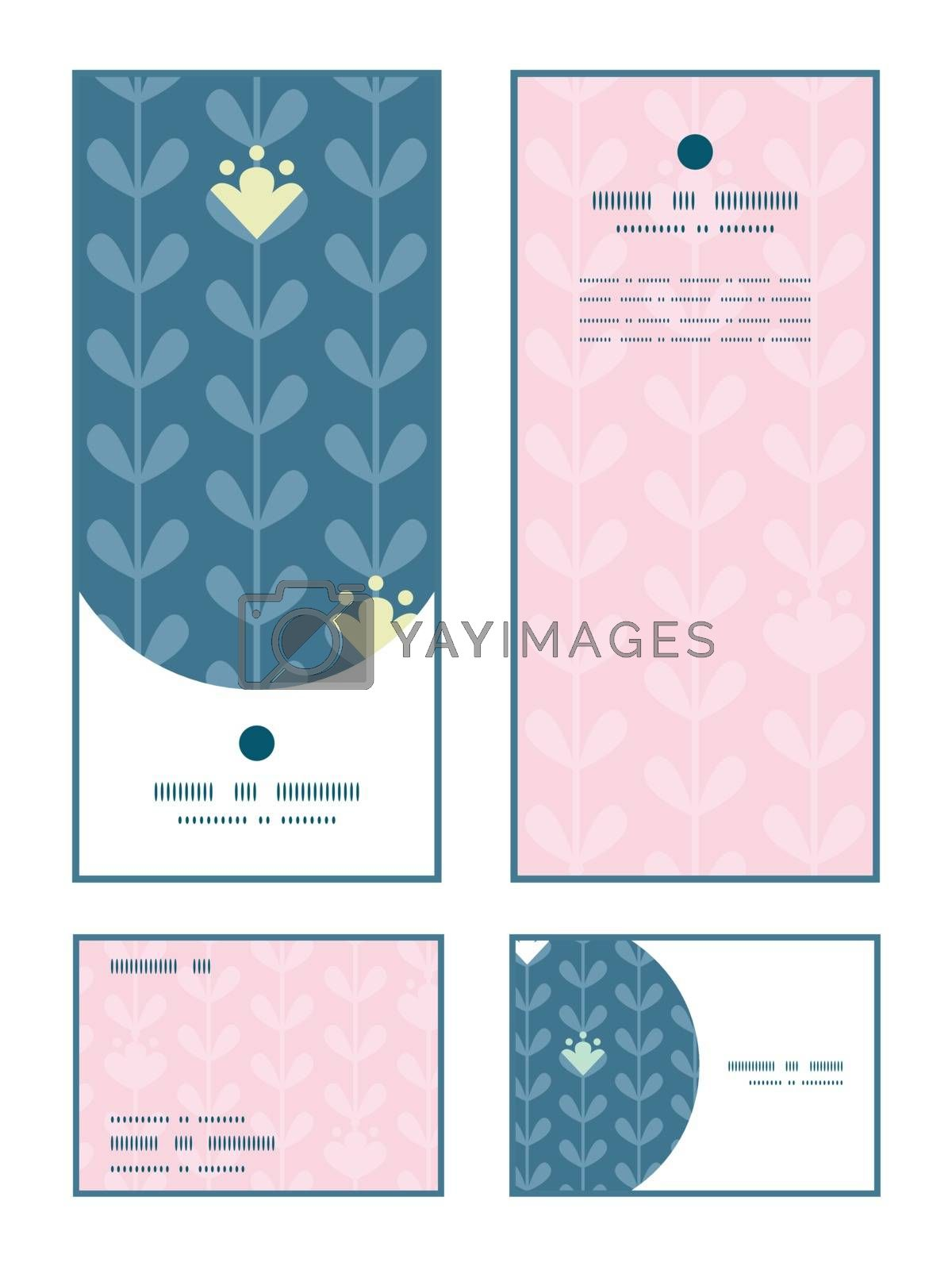 Vector blloming vines stripes vertical frame pattern invitation greeting, RSVP and thank you cards set graphic design