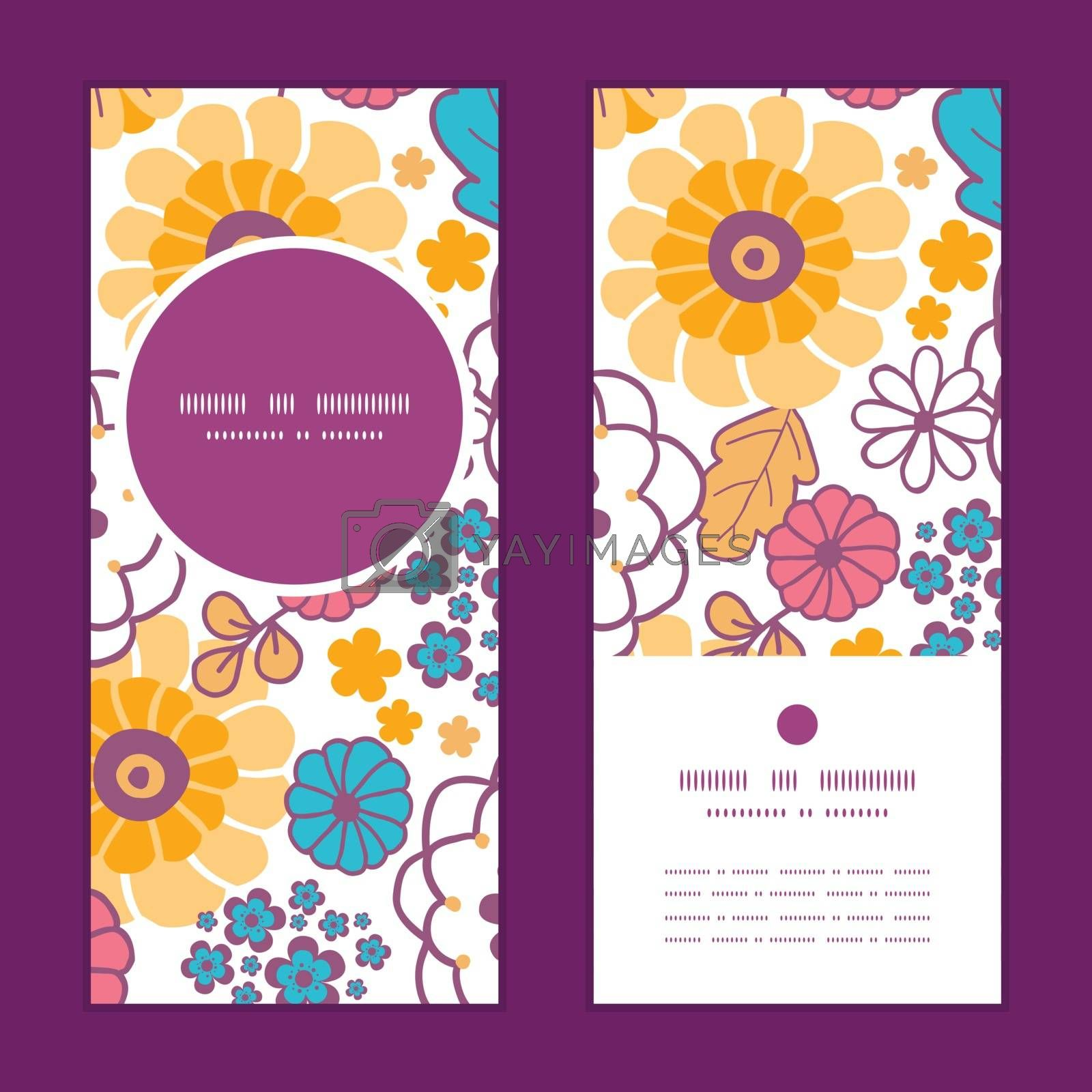 Vector colorful oriental flowers vertical round frame pattern invitation greeting cards set graphic design