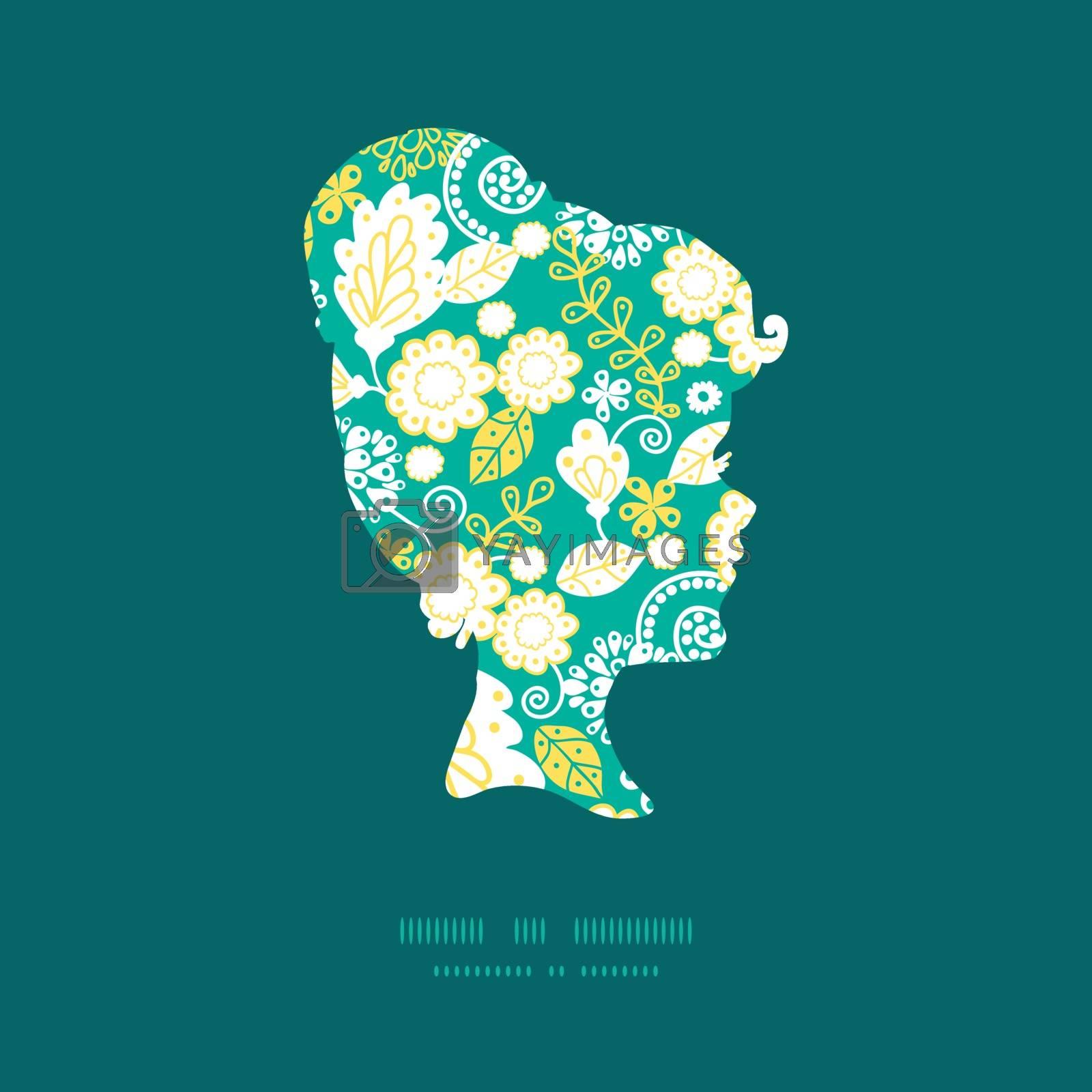 Vector emerald flowerals girl portrait silhouette pattern frame graphic design