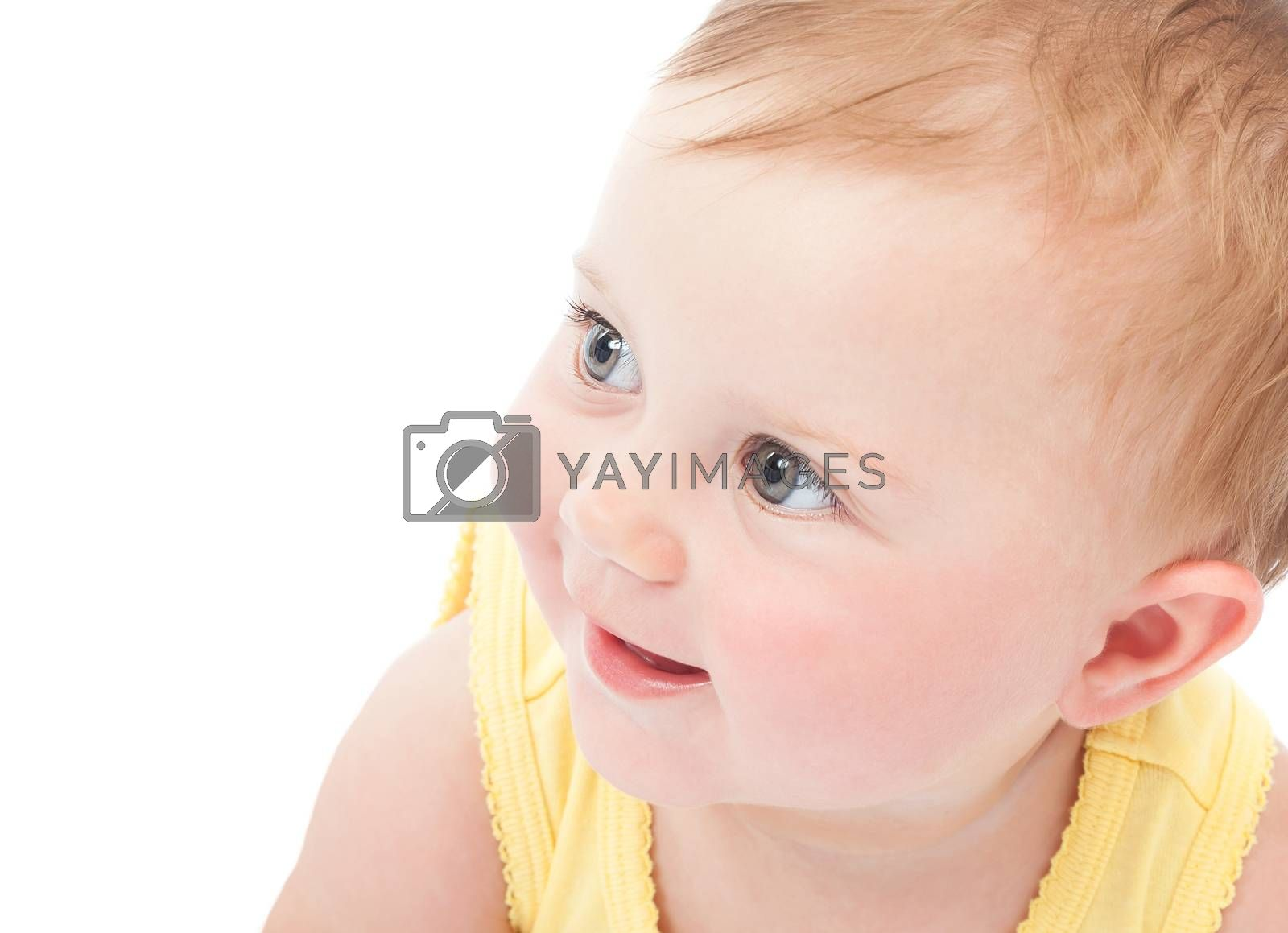 Closeup portrait of cute curious baby girl isolated on white background, sweet little child, happy and healthy childhood concept