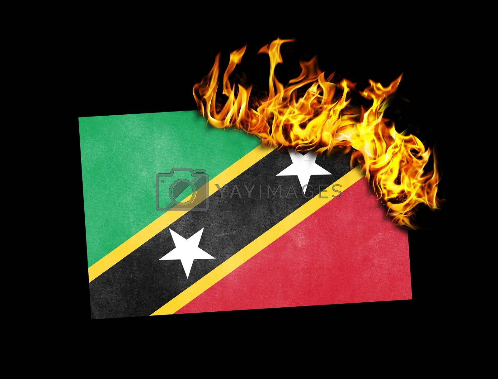 Royalty free image of Flag burning - Saint Kitts and Nevis by michaklootwijk