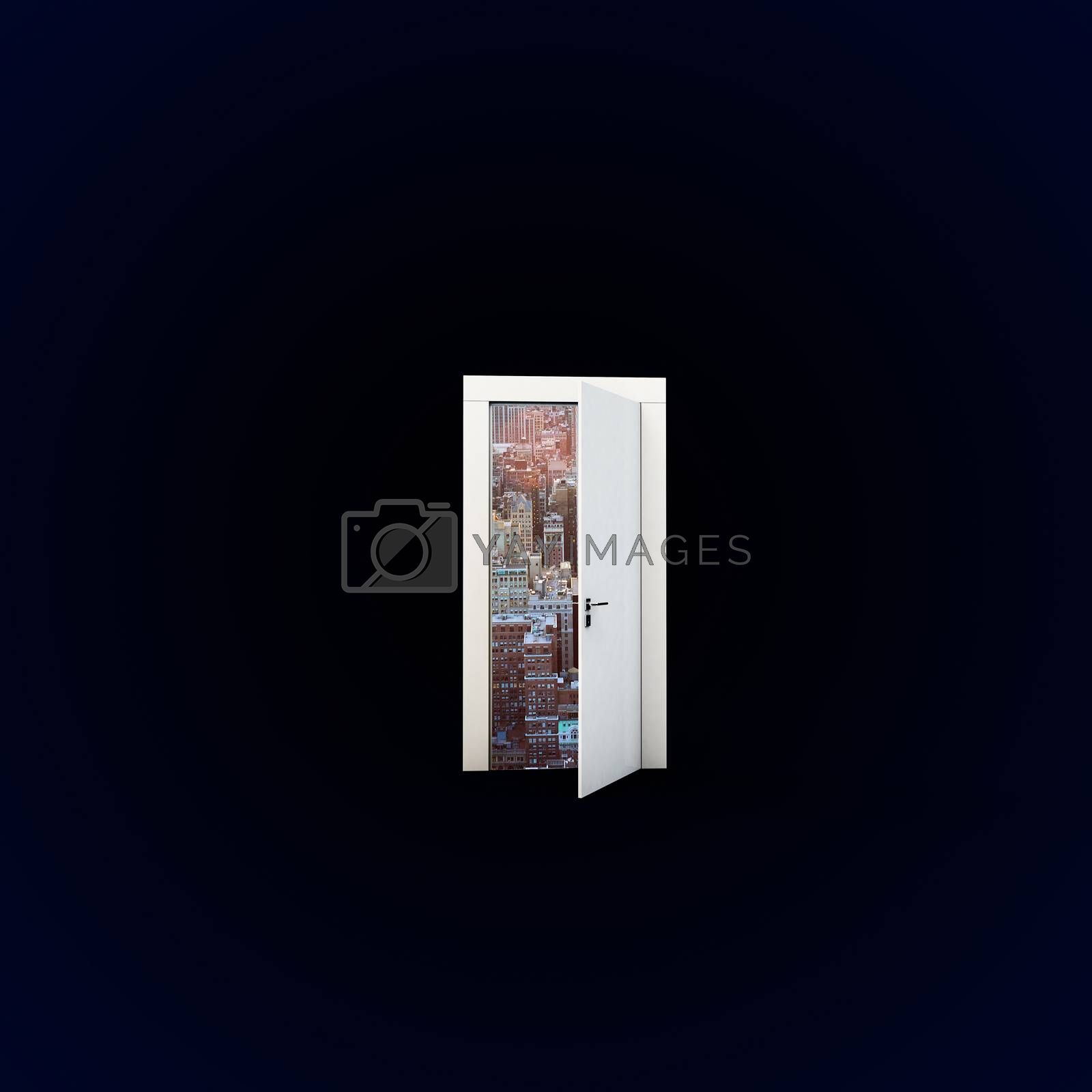 dimensional door isolated on black background