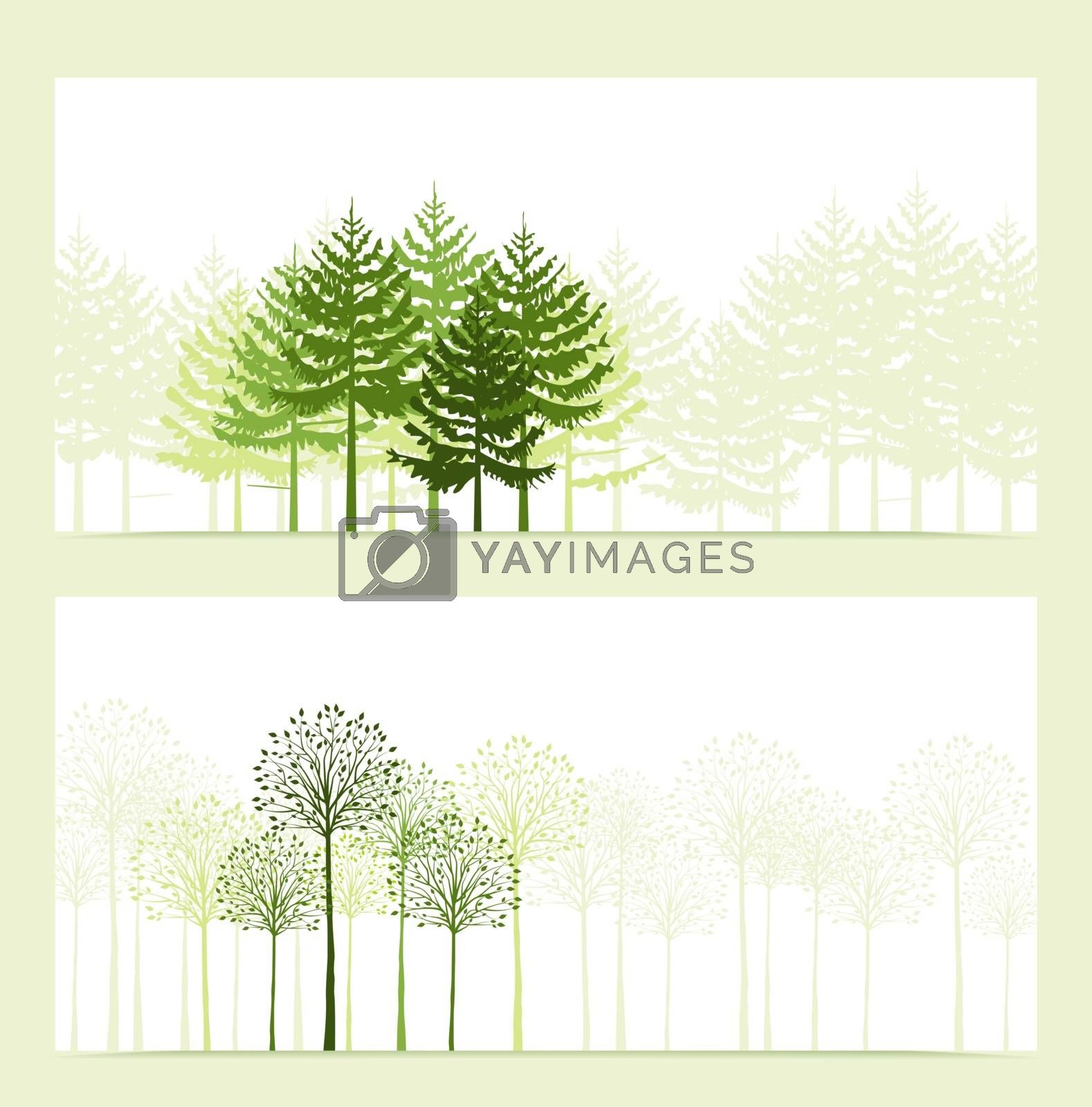 Two banners with the background landscape with trees
