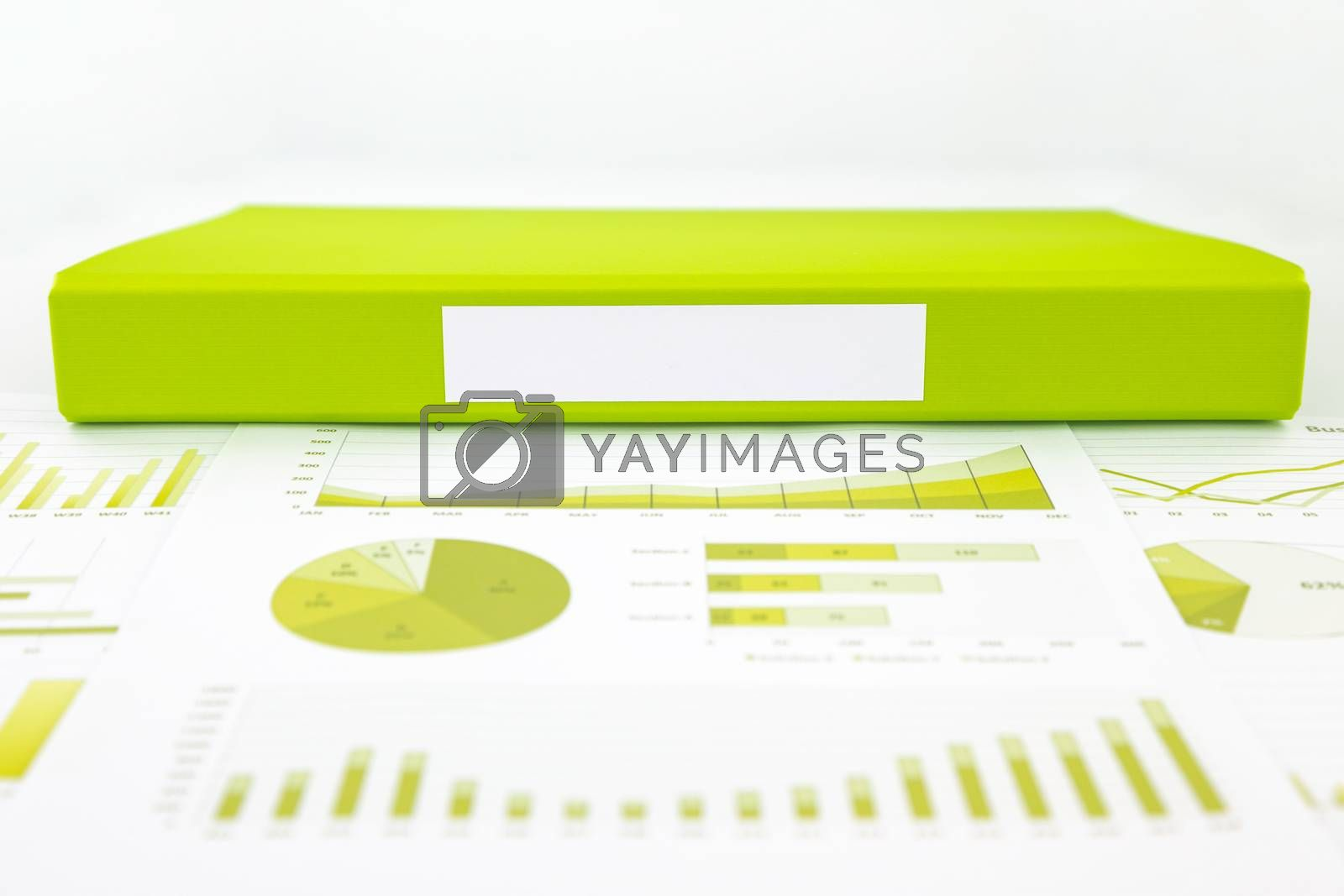 Royalty free image of Blank green folder with analytic graph and educational reports by vinnstock