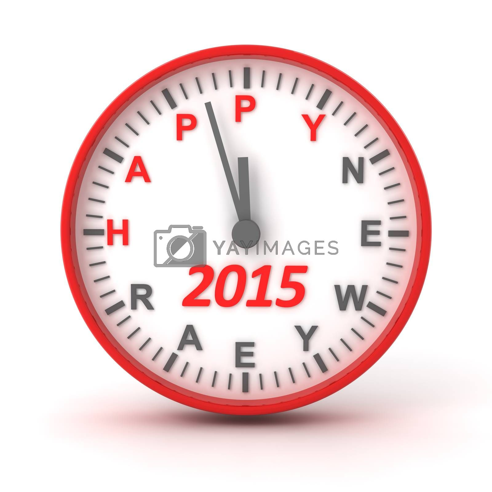 Royalty free image of Clock with 2015 happer new year text, 3d render by ymgerman