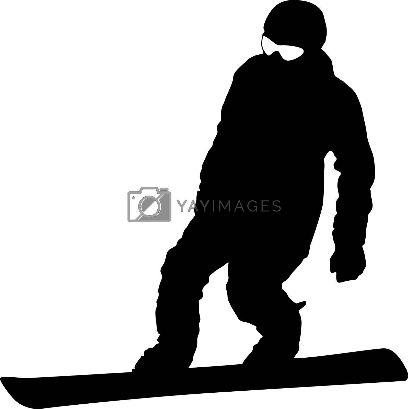 Royalty free image of Black silhouette  snowboarder on white background. Vector illust by aarrows