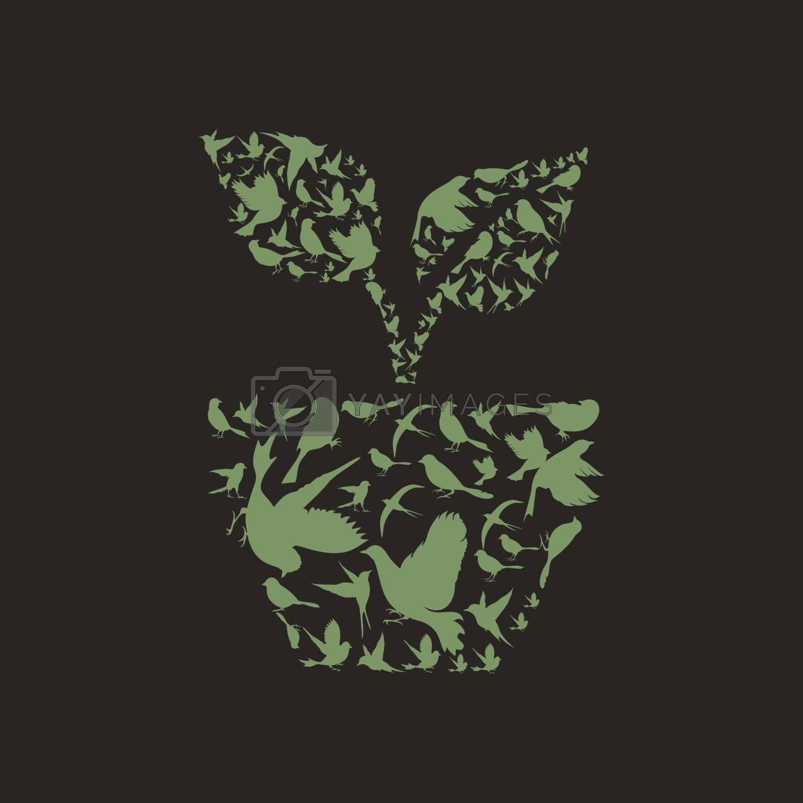 Plant made of birds. A vector illustration