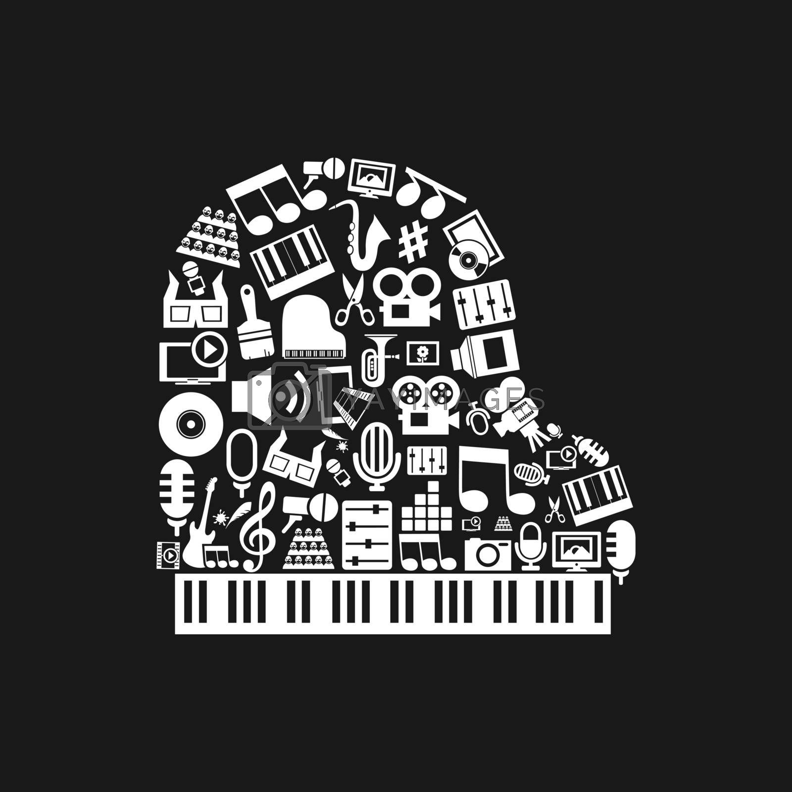 The piano made of art. A vector illustration