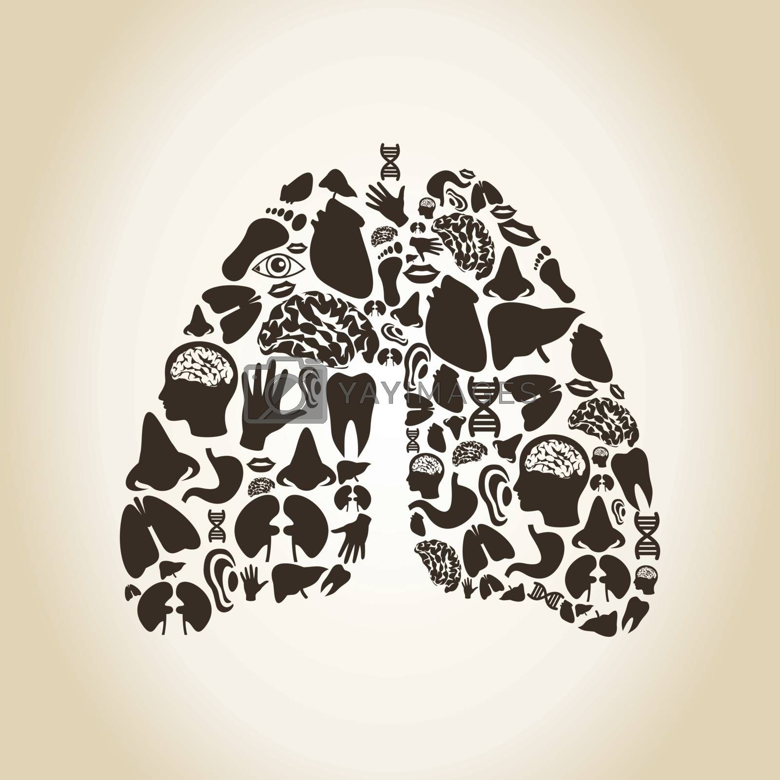 Lungs made of body parts. A vector illustration